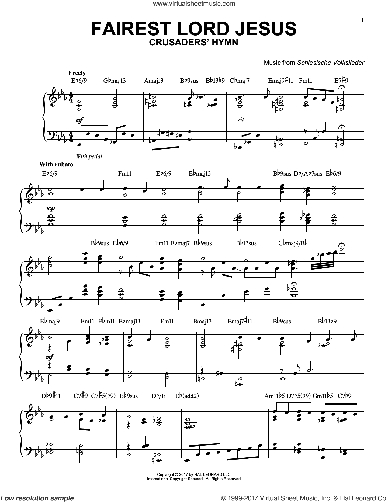 Fairest Lord Jesus sheet music for piano solo by Joseph August Seiss, Munster Gesangbuch and Schlesische Volkslieder, intermediate skill level