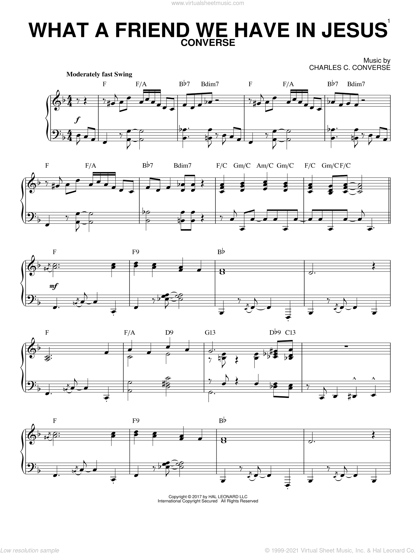 What A Friend We Have In Jesus sheet music for piano solo by Joseph M. Scriven and Charles C. Converse, intermediate skill level