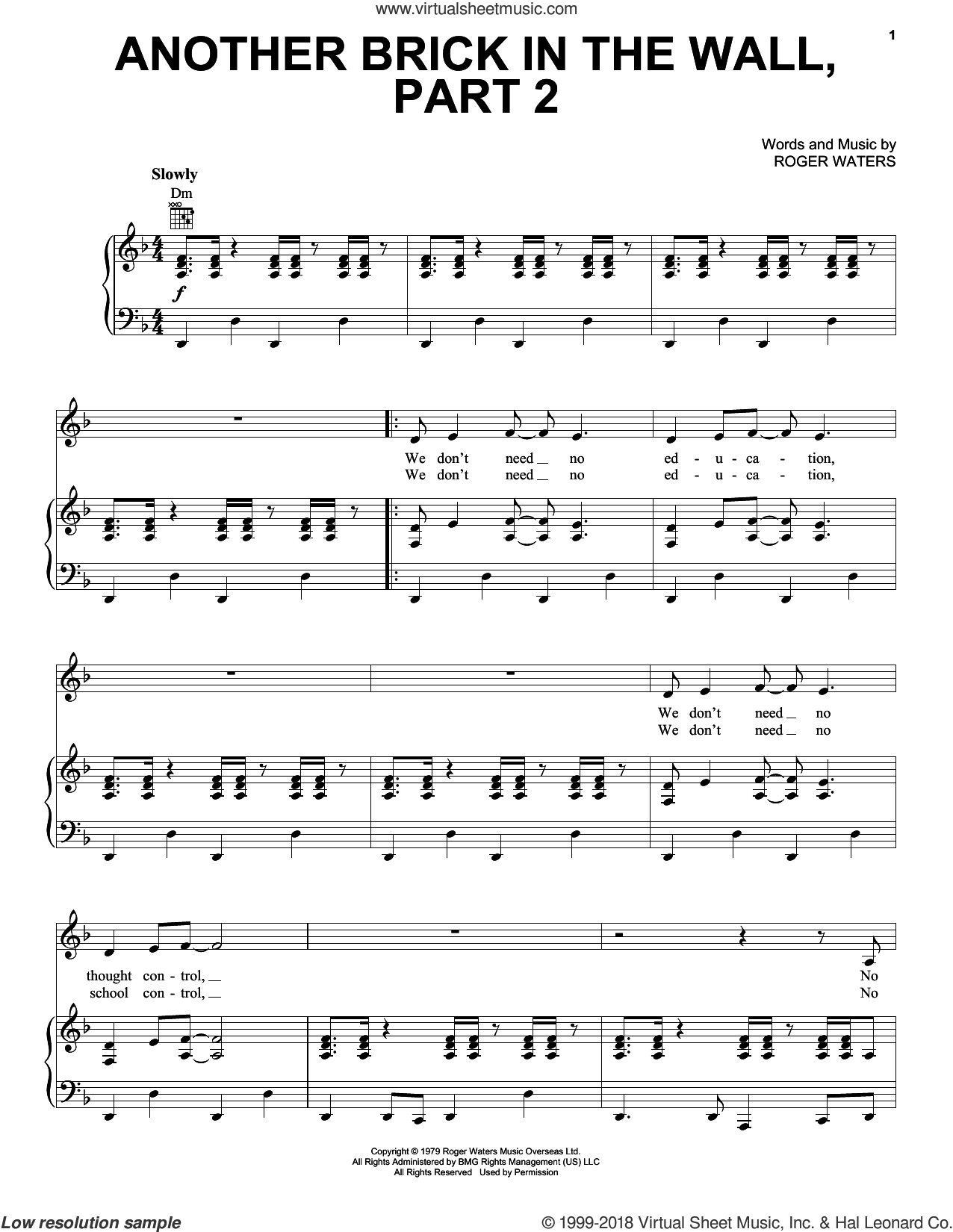 Another Brick In The Wall, Part 2 sheet music for voice, piano or guitar by Pink Floyd and Roger Waters, intermediate skill level