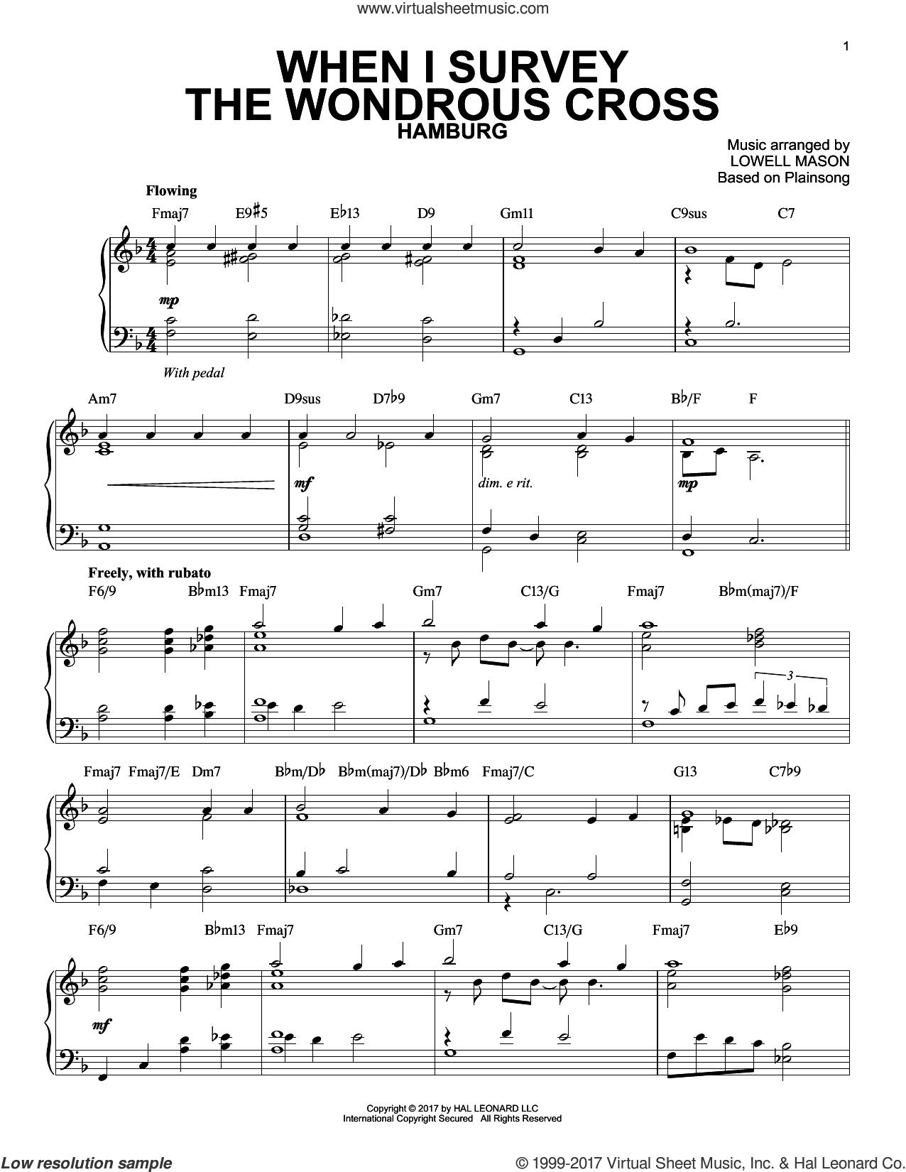 When I Survey The Wondrous Cross [Jazz version] sheet music for piano solo by Lowell Mason, Isaac Watts and Miscellaneous, intermediate skill level