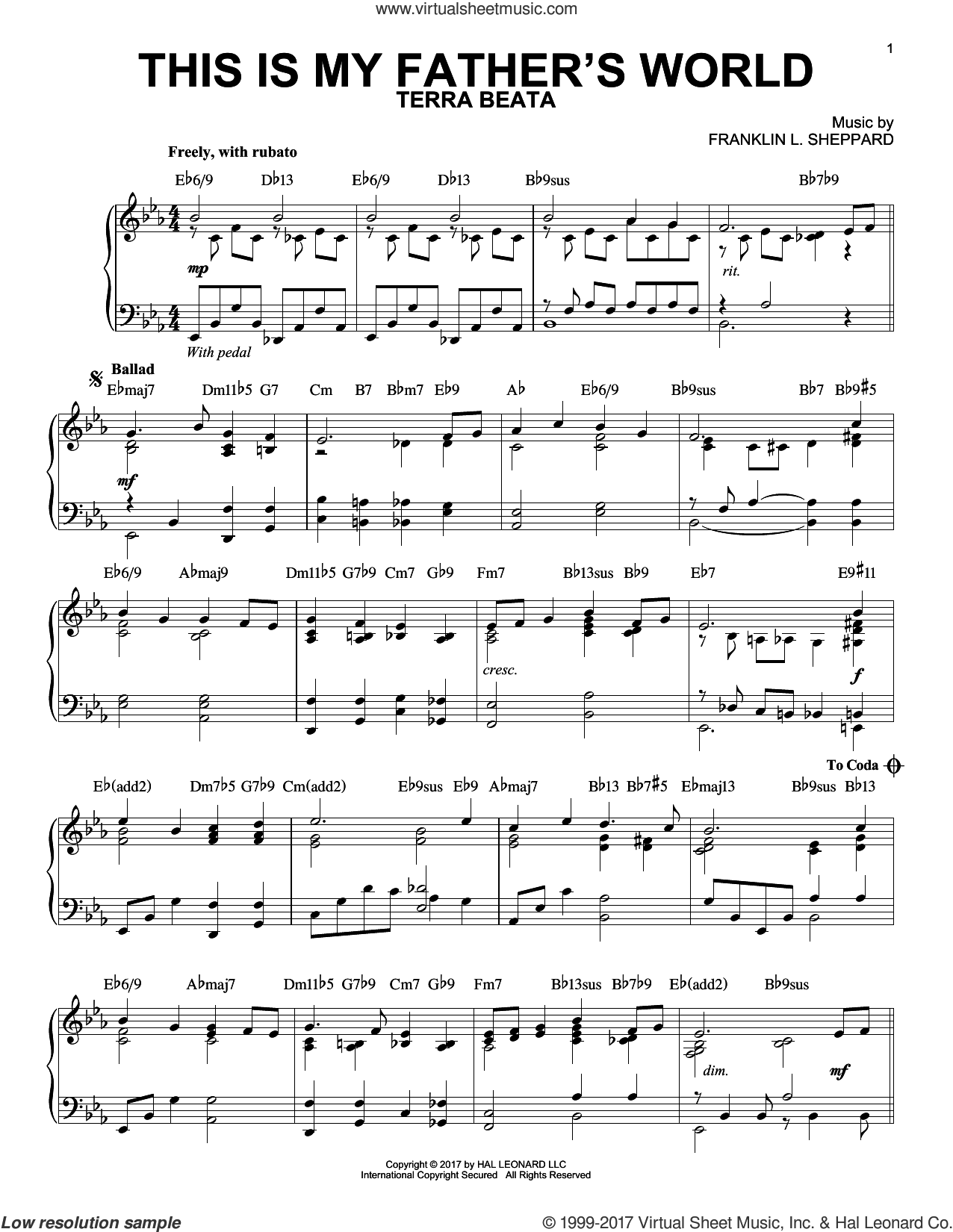 This Is My Father's World [Jazz version] (arr. Phillip Keveren) sheet music for piano solo by Franklin L. Sheppard and Maltbie D. Babcock, intermediate skill level