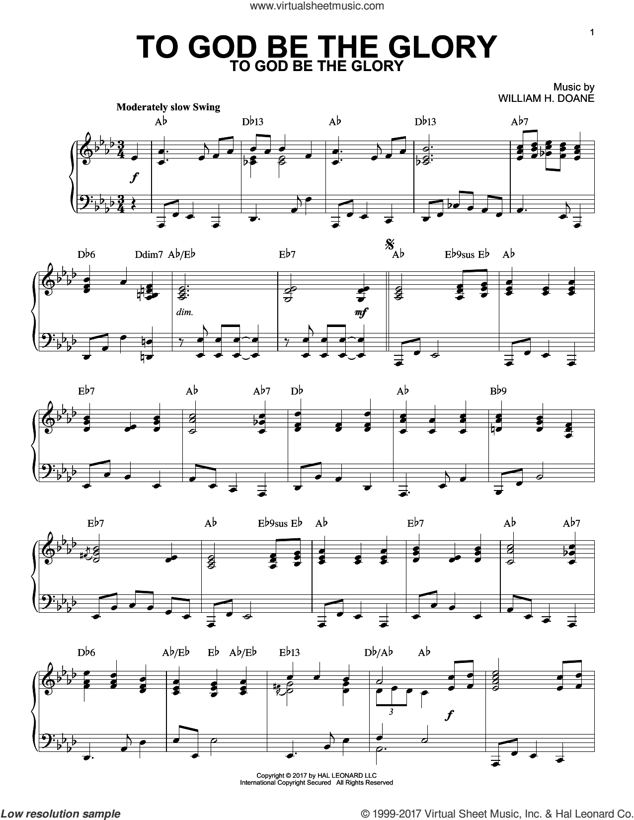 To God Be The Glory [Jazz version] sheet music for piano solo by Fanny J. Crosby and William H. Doane, intermediate skill level