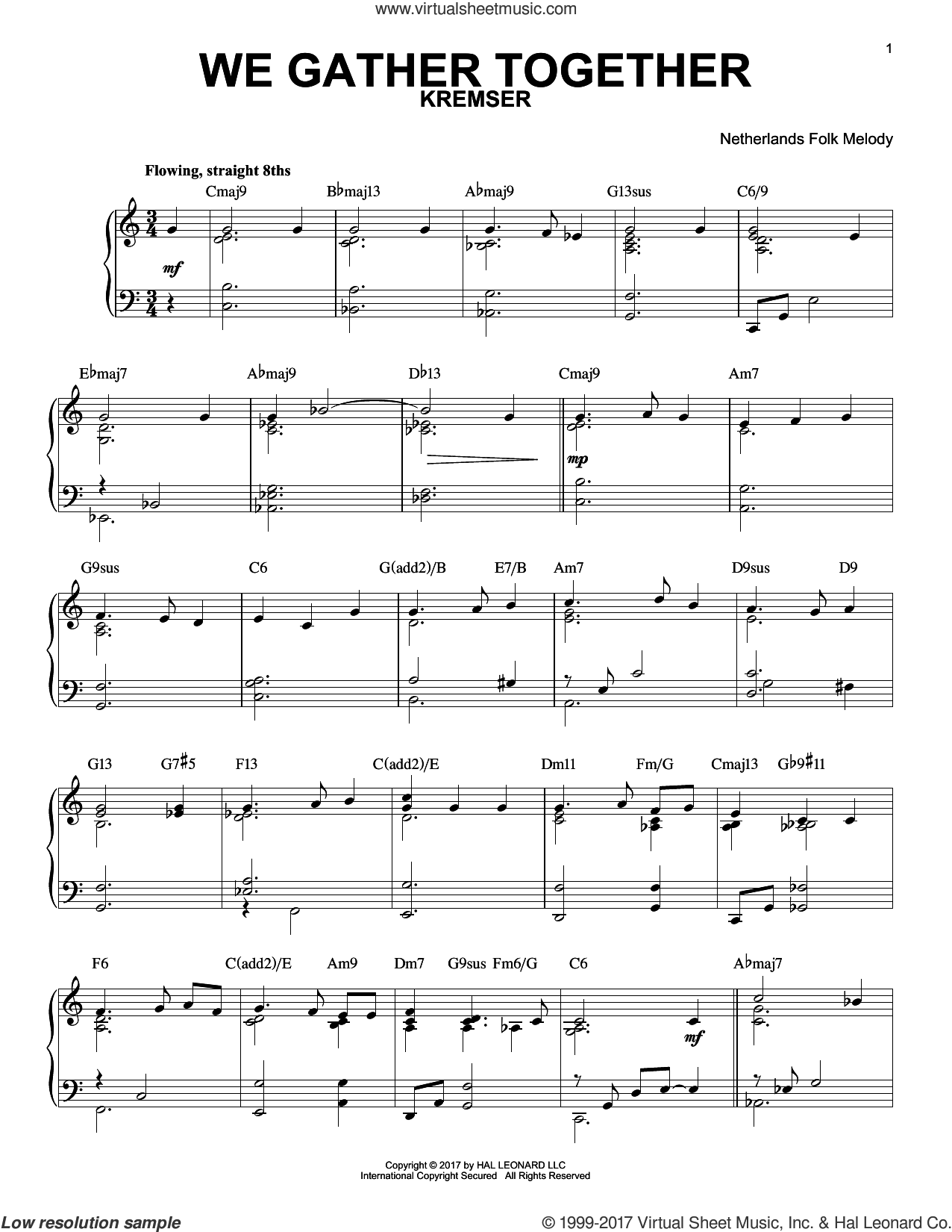 We Gather Together sheet music for piano solo by Edward Kremser, Miscellaneous, Nederlandtsch Gedenckclanck and Theodore Baker. Score Image Preview.