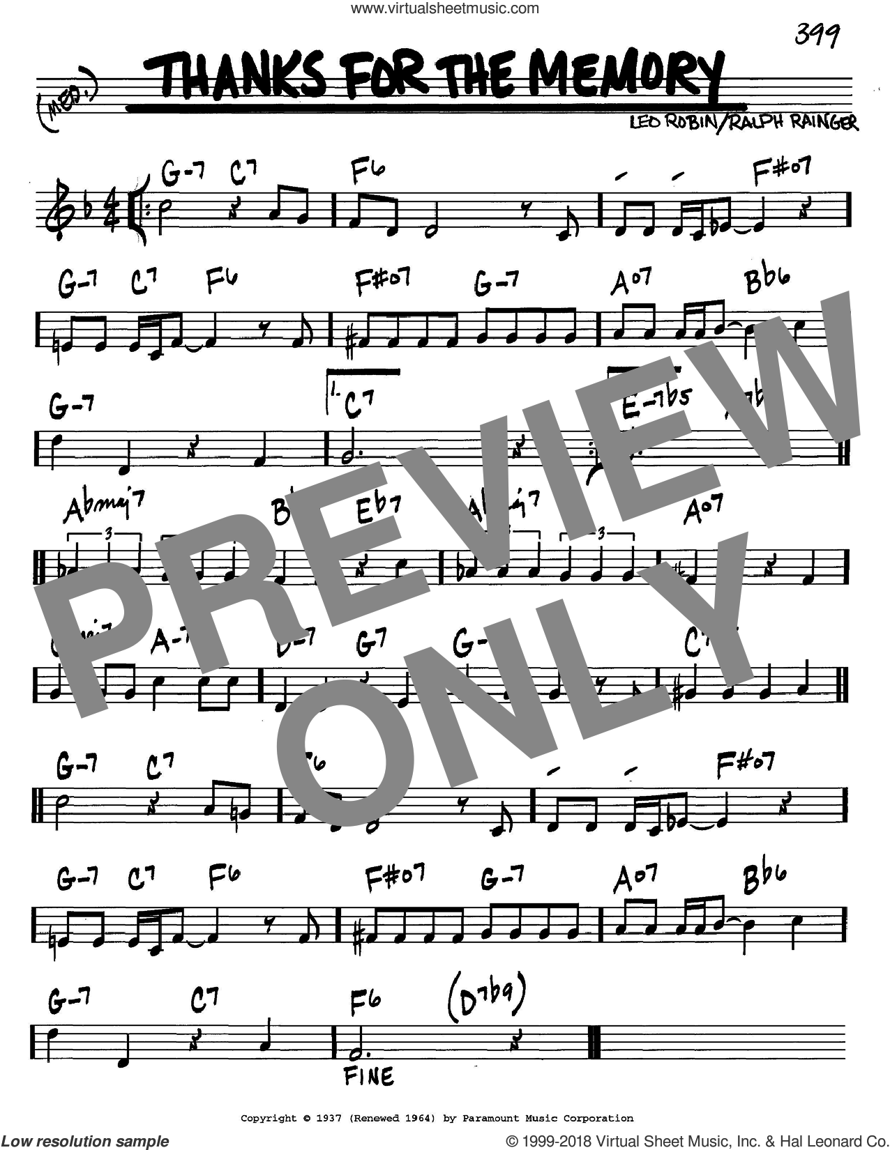 Thanks For The Memory sheet music for voice and other instruments (C) by Leo Robin and Ralph Rainger. Score Image Preview.