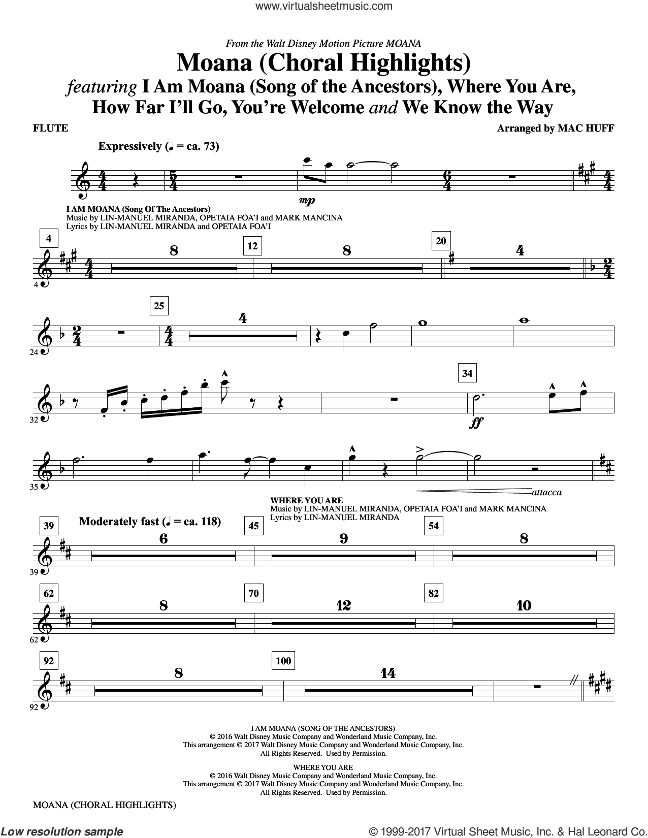 Moana (complete set of parts) sheet music for orchestra/band by Mac Huff, Lin-Manuel Miranda and Mark Mancina, intermediate skill level