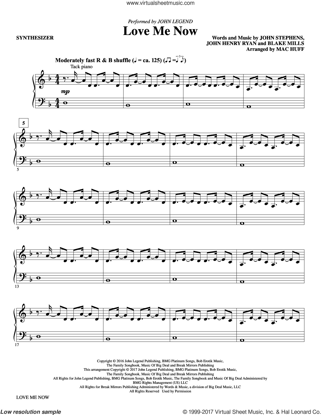 Love Me Now (complete set of parts) sheet music for orchestra/band by Mac Huff, Blake Mills, John Henry Ryan, John Legend and John Stephens, intermediate. Score Image Preview.