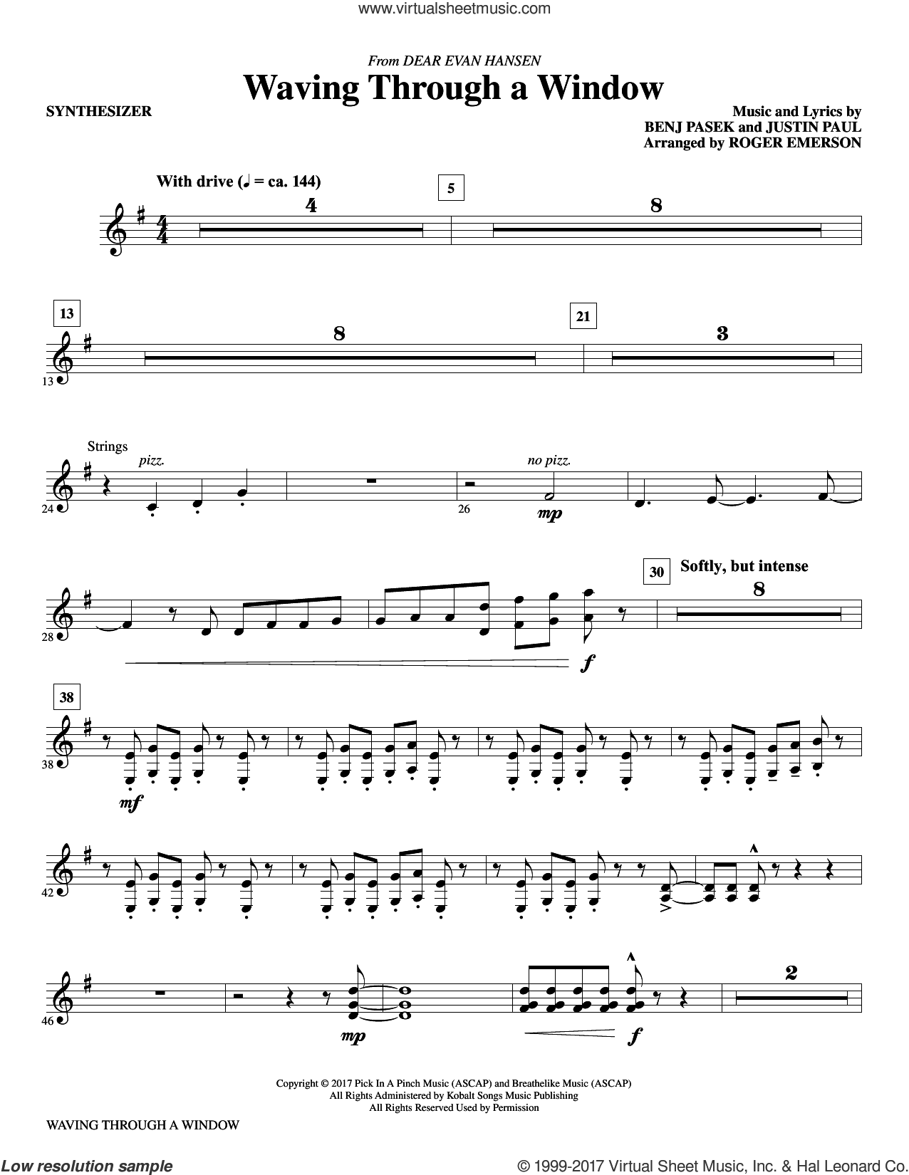 Waving Through a Window (complete set of parts) sheet music for orchestra/band by Roger Emerson, Benj Pasek and Justin Paul, intermediate. Score Image Preview.
