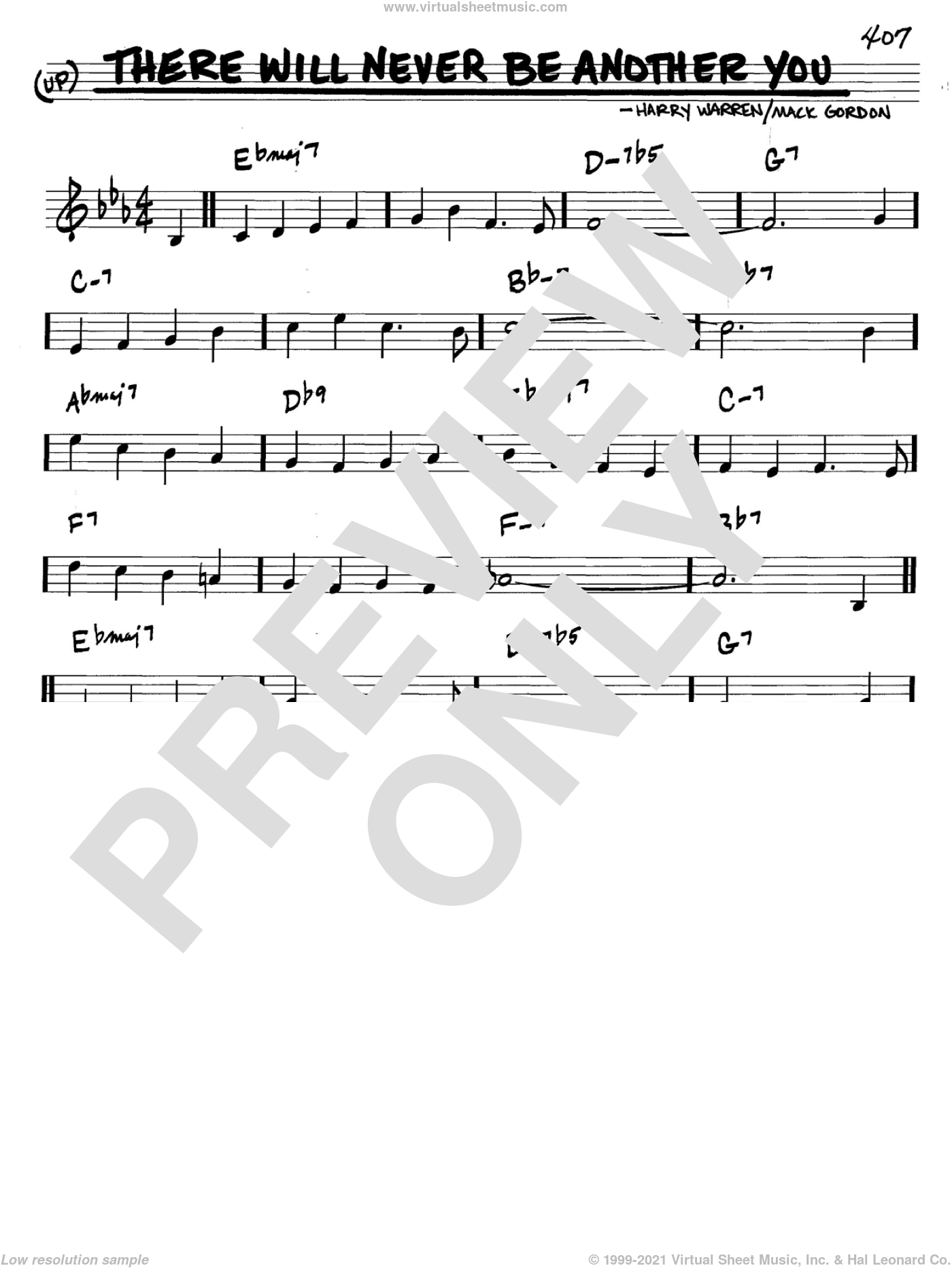 There Will Never Be Another You sheet music for voice and other instruments (in C) by Mack Gordon and Harry Warren, intermediate skill level