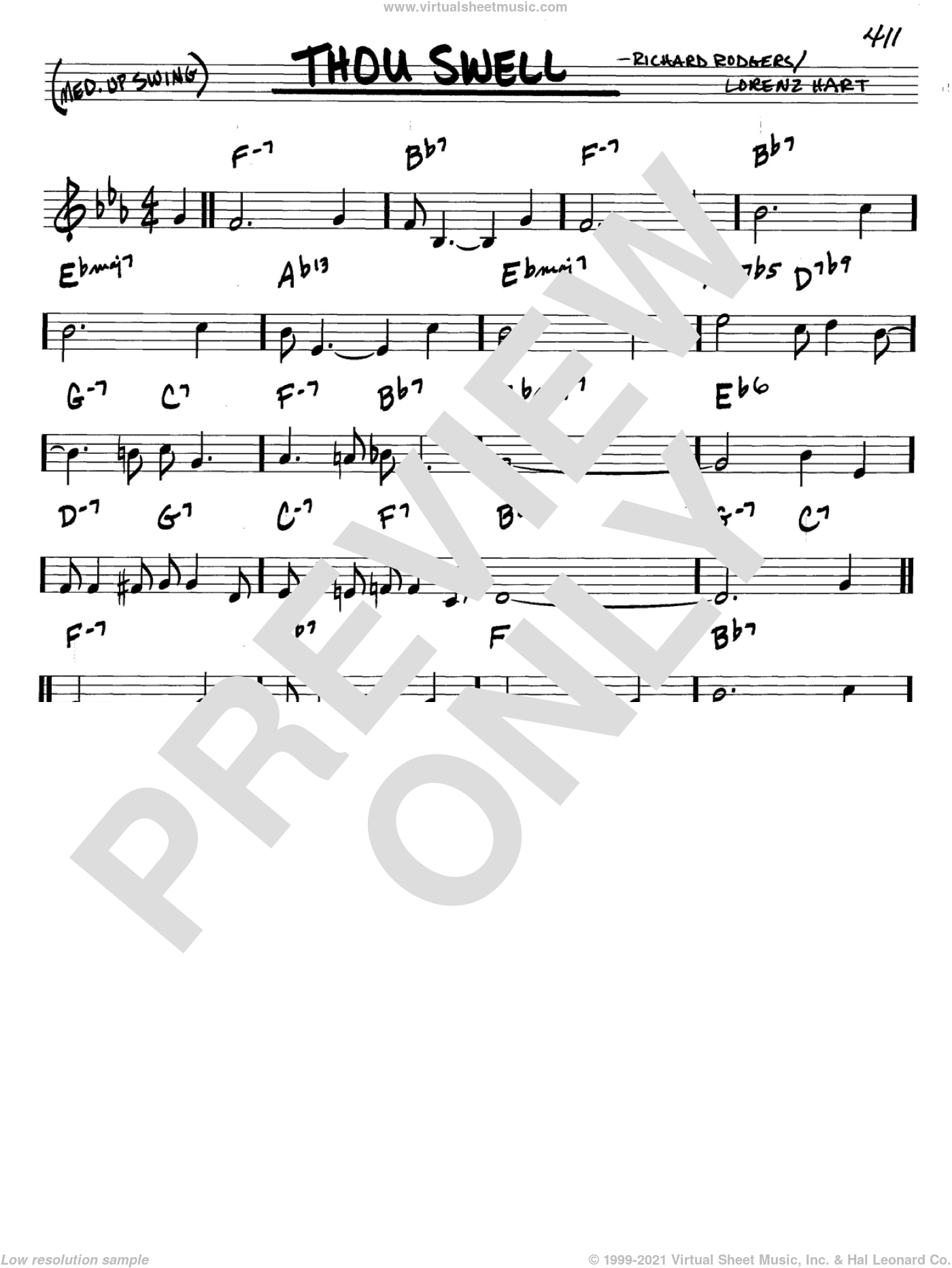 Thou Swell sheet music for voice and other instruments (C) by Richard Rodgers, Rodgers & Hart and Lorenz Hart. Score Image Preview.