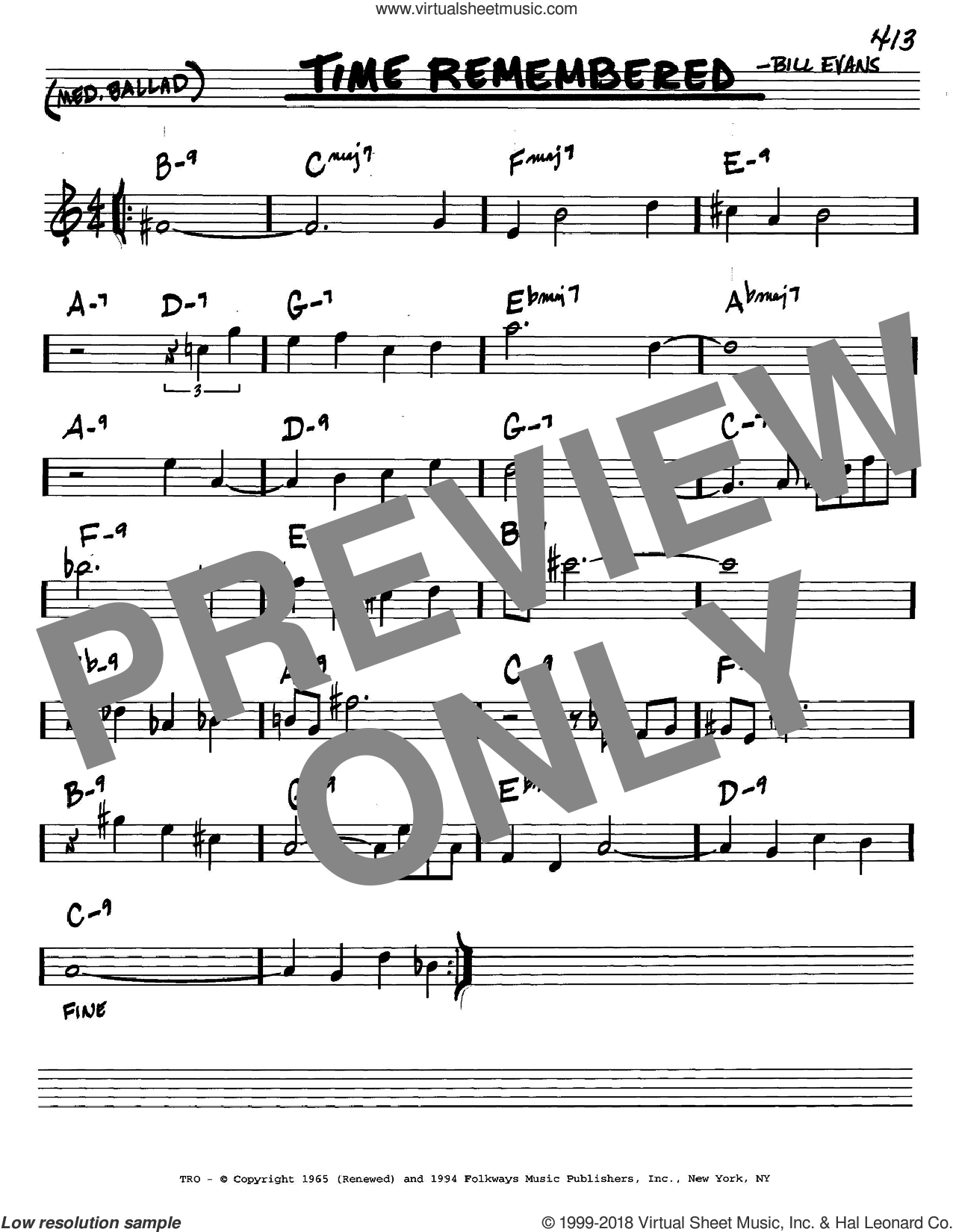 Time Remembered sheet music for voice and other instruments (C) by Bill Evans. Score Image Preview.
