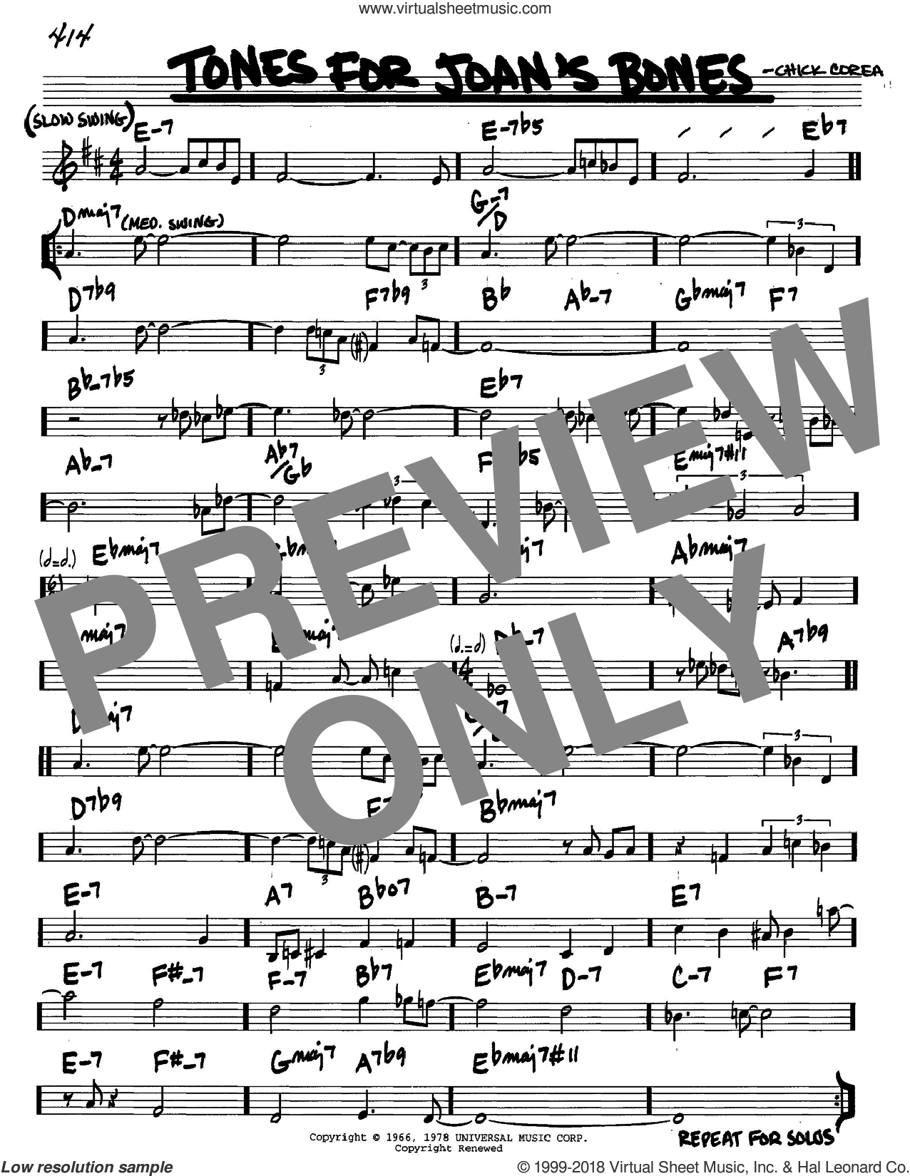 Tones For Joan's Bones sheet music for voice and other instruments (in C) by Chick Corea, intermediate skill level