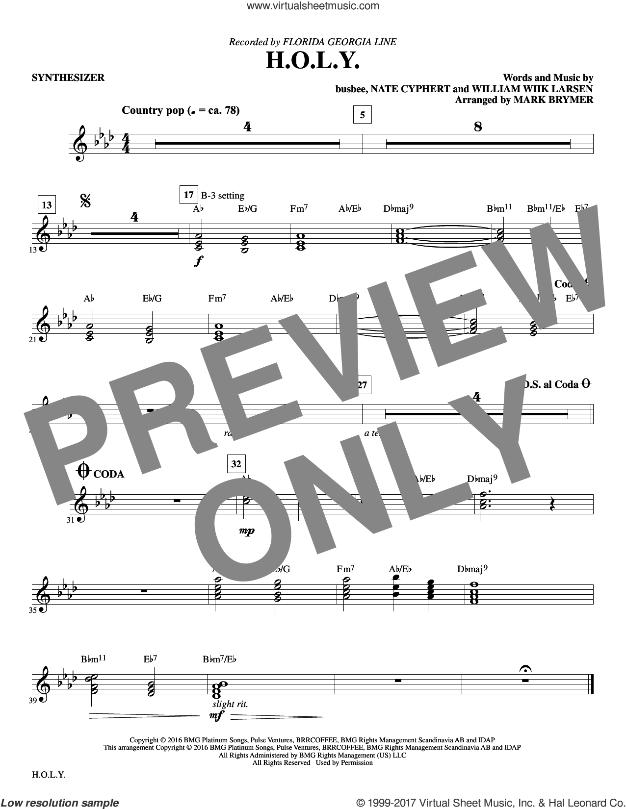 H.O.L.Y. (complete set of parts) sheet music for orchestra/band by Mark Brymer and Florida Georgia Line, intermediate. Score Image Preview.