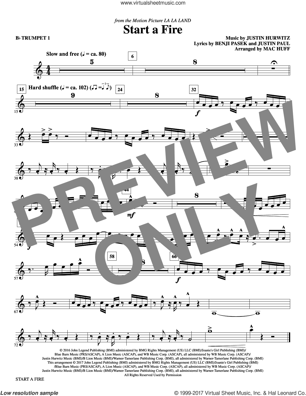 Start a Fire (complete set of parts) sheet music for orchestra/band by Mac Huff, Angelique Cinelu, John Stephens, Justin Hurwitz and Marius De Vries, intermediate skill level