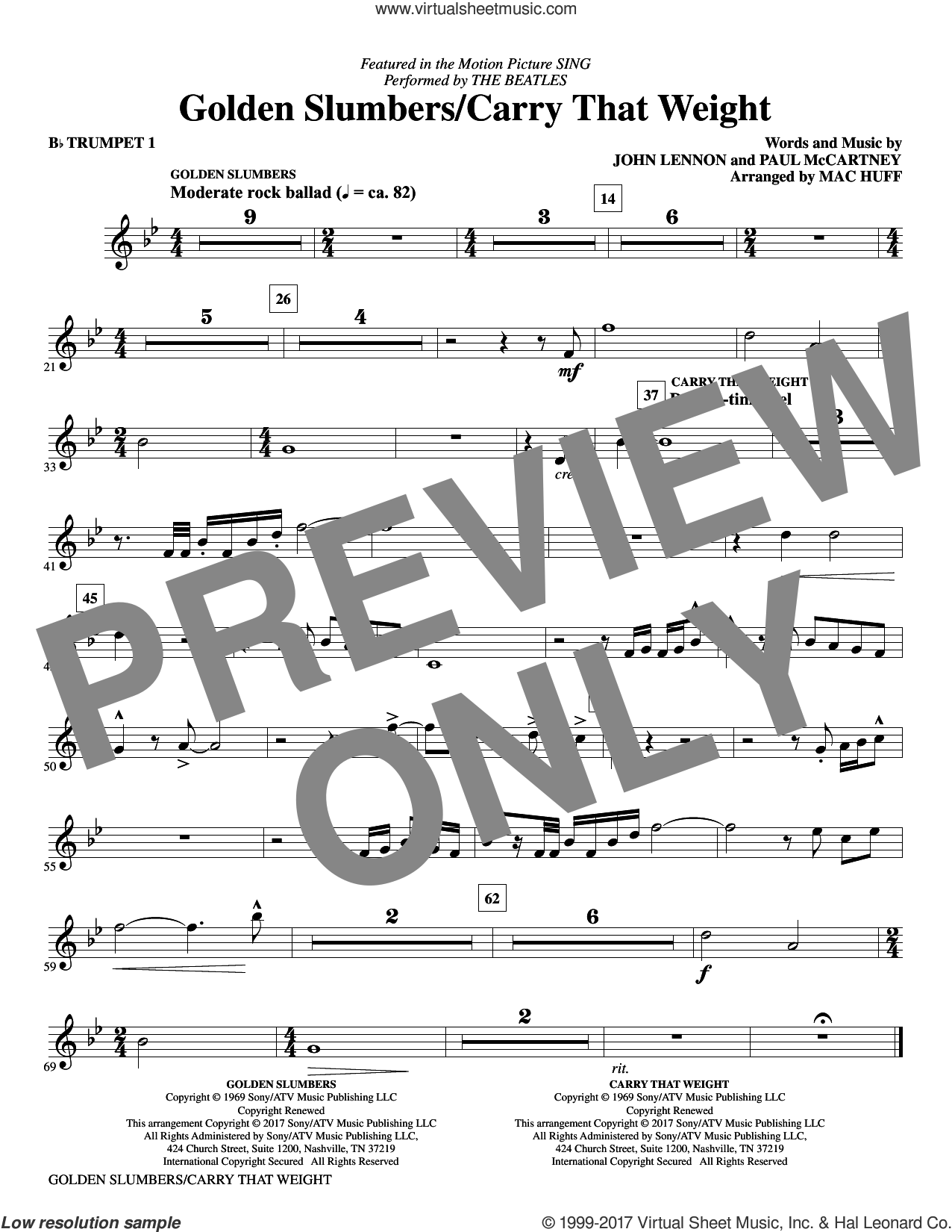 Golden Slumbers/Carry That Weight (complete set of parts) sheet music for orchestra/band by The Beatles, John Lennon, Mac Huff and Paul McCartney, intermediate skill level