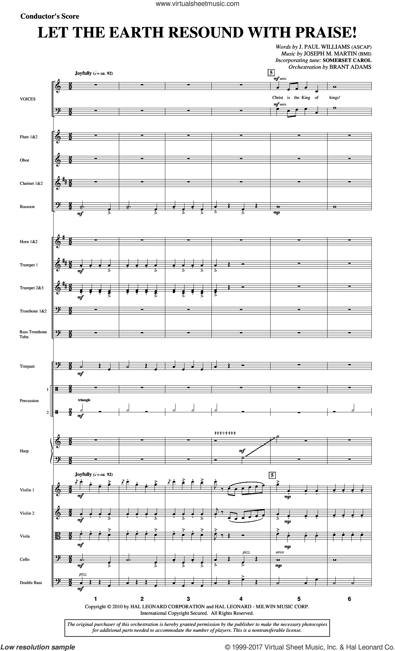 Let The Earth Resound with Praise! (COMPLETE) sheet music for orchestra/band by Joseph Martin, J. Paul Williams, Joseph M. Martin and Miscellaneous, intermediate. Score Image Preview.