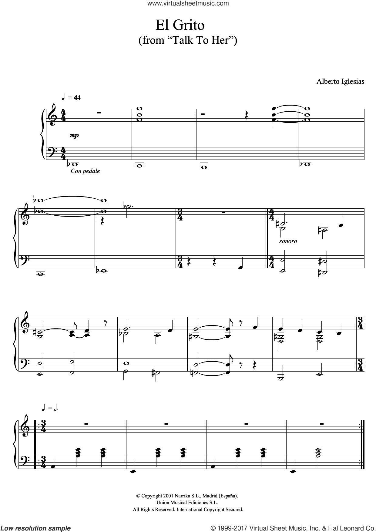 El Grito (from 'Talk To Her') sheet music for piano solo by Alberto Iglesias, intermediate skill level