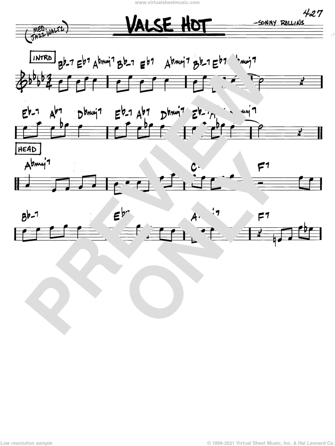 Valse Hot sheet music for voice and other instruments (in C) by Sonny Rollins, intermediate skill level