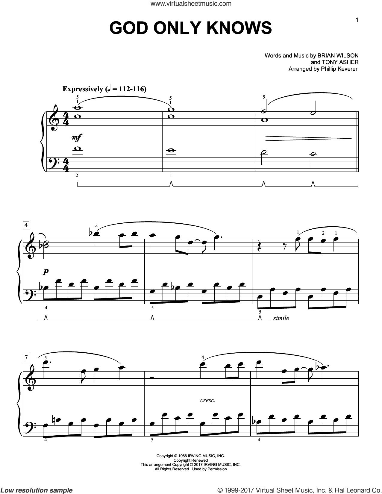 God Only Knows sheet music for piano solo by Brian Wilson, Phillip Keveren and The Beach Boys, easy piano. Score Image Preview.
