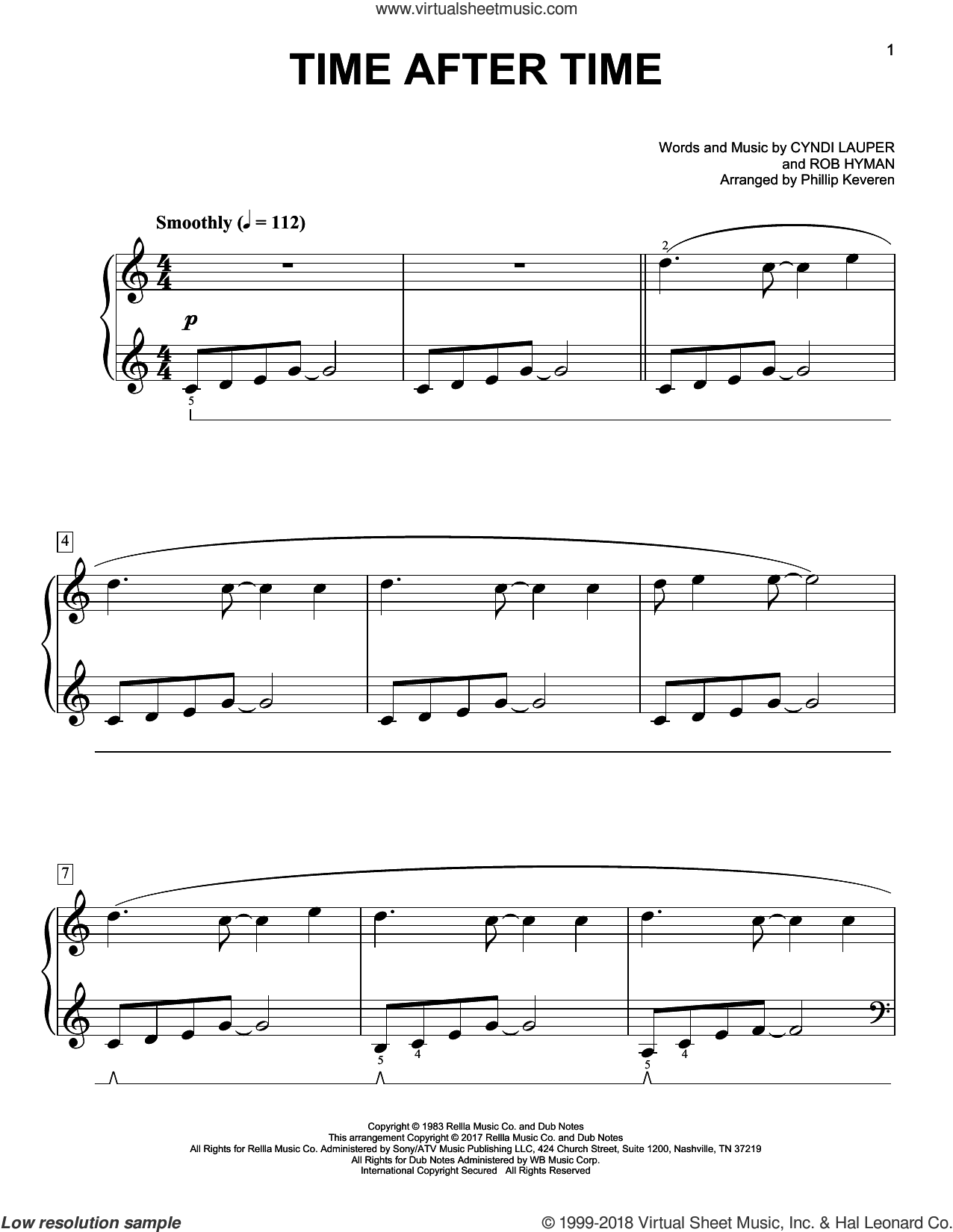 Time After Time [Classical version] (arr. Phillip Keveren) sheet music for piano solo by Cyndi Lauper, Phillip Keveren, Cyndi Lauper featuring Sarah McLachlan, Inoj, Javier Colon and Rob Hyman, easy skill level