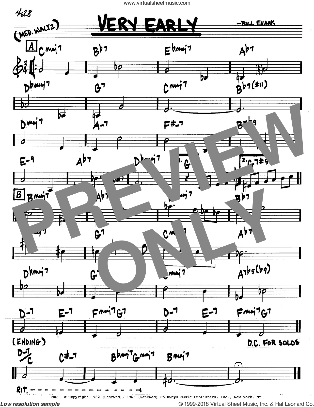 Very Early sheet music for voice and other instruments (C) by Bill Evans. Score Image Preview.