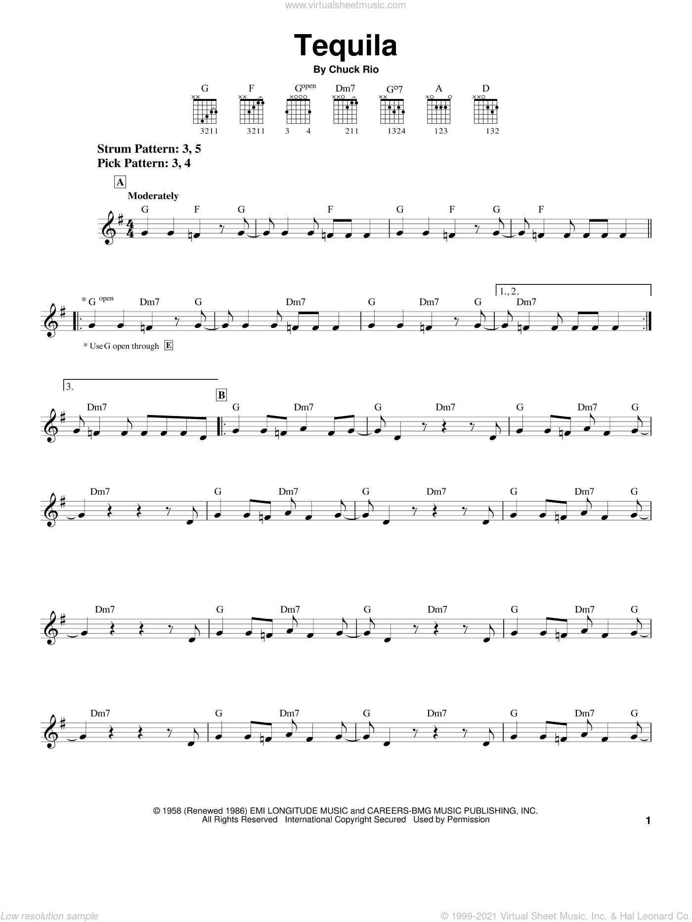 Tequila sheet music for guitar solo (chords) by Chuck Rio. Score Image Preview.