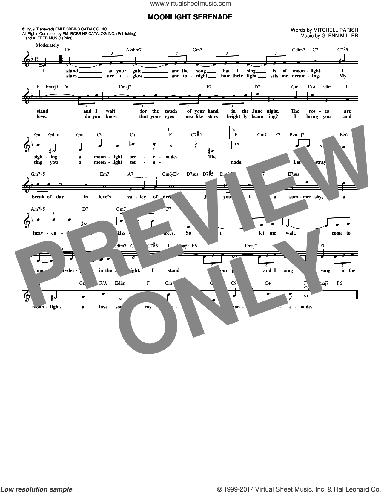 Moonlight Serenade sheet music for voice and other instruments (fake book) by Glen Miller and Mitchell Parish. Score Image Preview.
