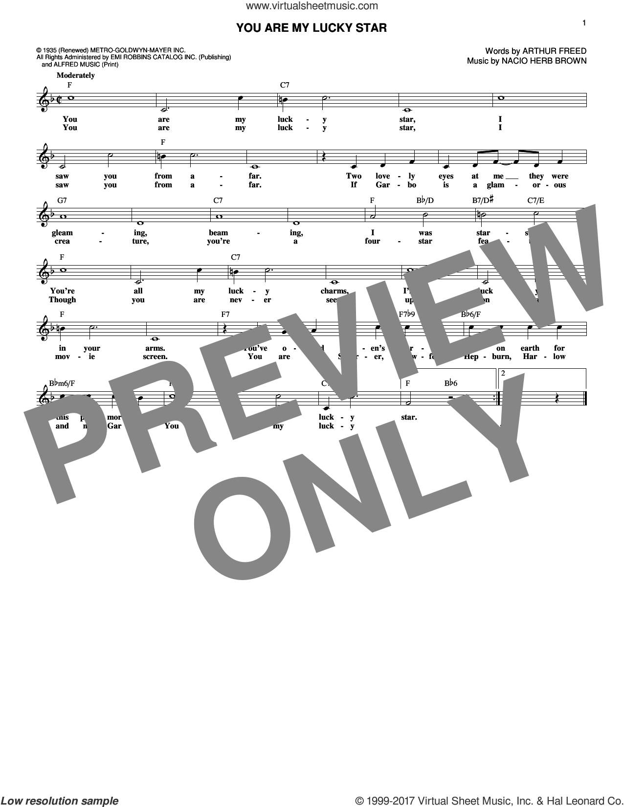 You Are My Lucky Star sheet music for voice and other instruments (fake book) by Arthur Freed and Nacio Herb Brown. Score Image Preview.