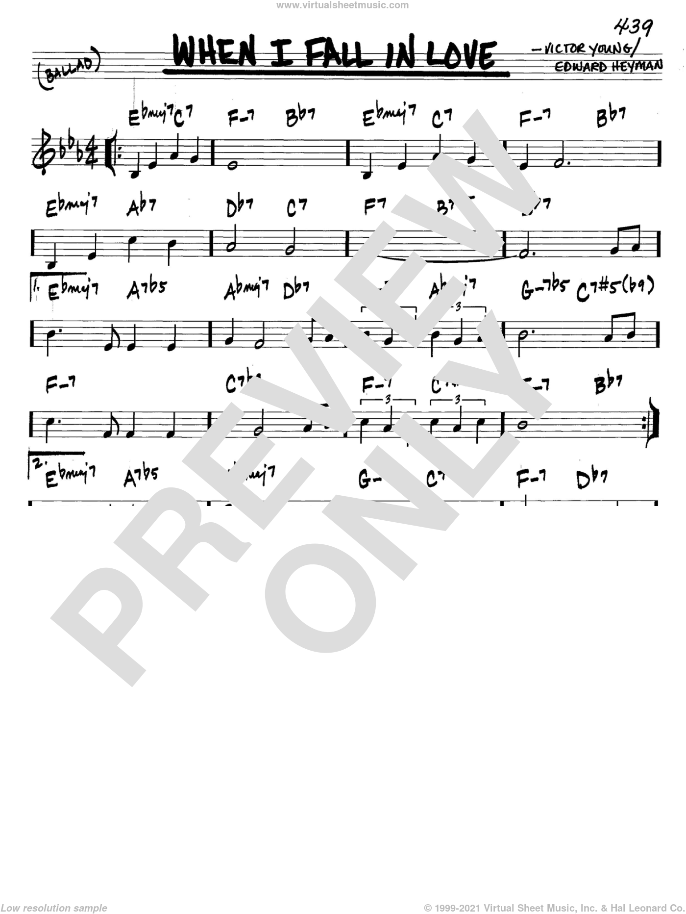 When I Fall In Love sheet music for voice and other instruments (C) by Edward Heyman and Victor Young. Score Image Preview.