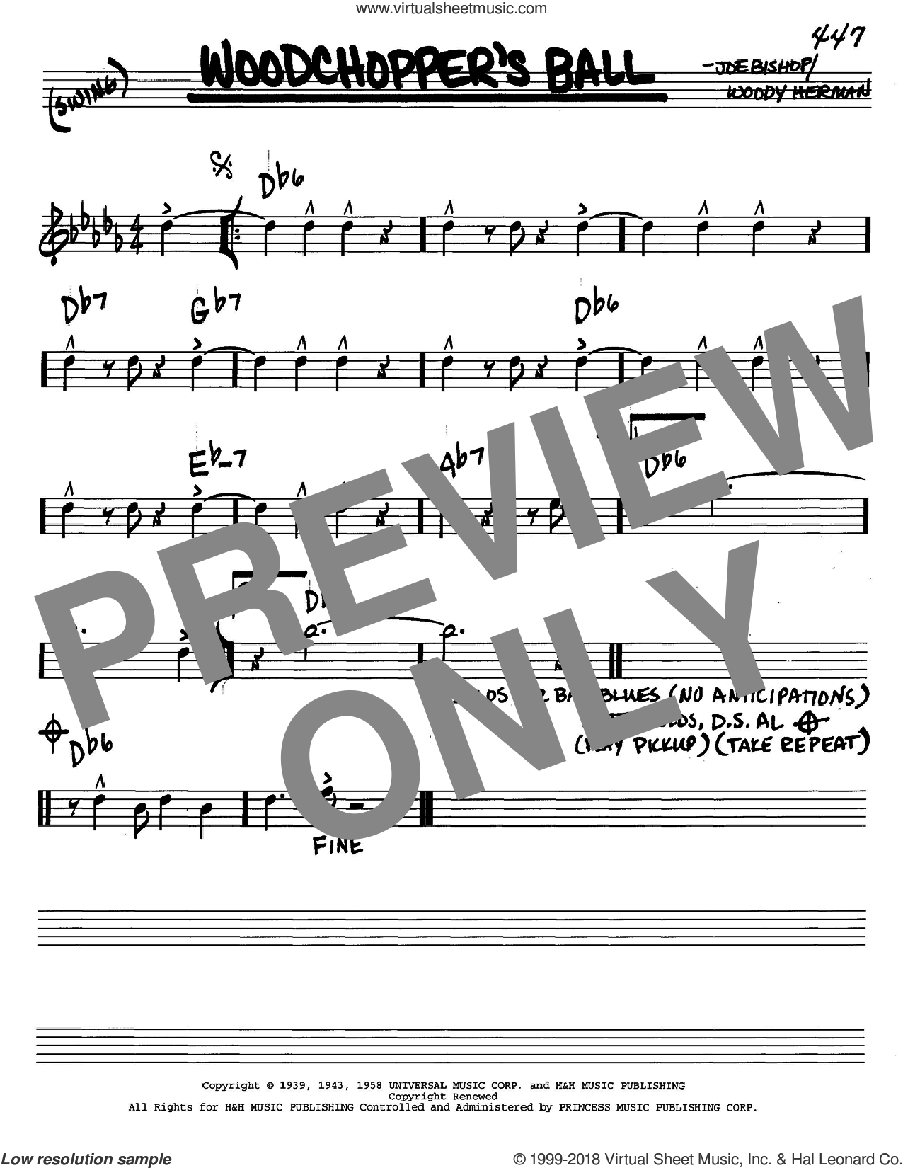 Woodchopper's Ball sheet music for voice and other instruments (in C) by Woody Herman and Joe Bishop, intermediate. Score Image Preview.