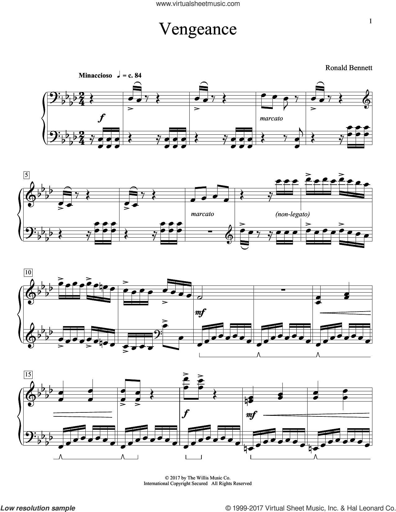Vengeance sheet music for piano solo (elementary) by Ronald Bennett, beginner piano (elementary)