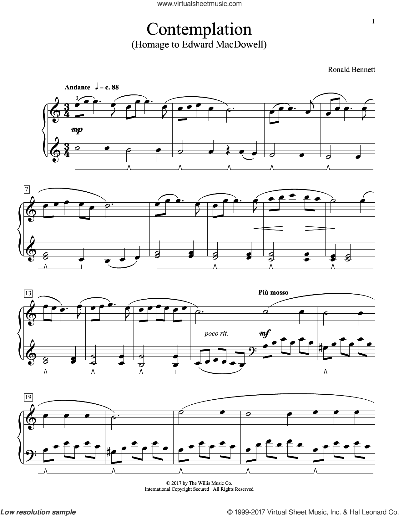 Contemplation (Homage To Edward MacDowell) sheet music for piano solo (elementary) by Ronald Bennett. Score Image Preview.