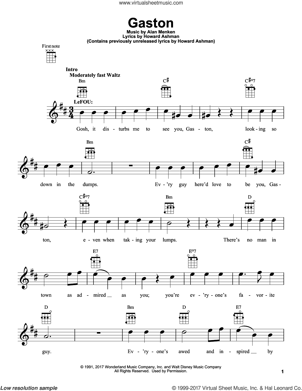 Gaston (from Beauty And The Beast) sheet music for ukulele by Beauty and the Beast Cast, Tim Rice, Alan Menken and Howard Ashman, intermediate skill level