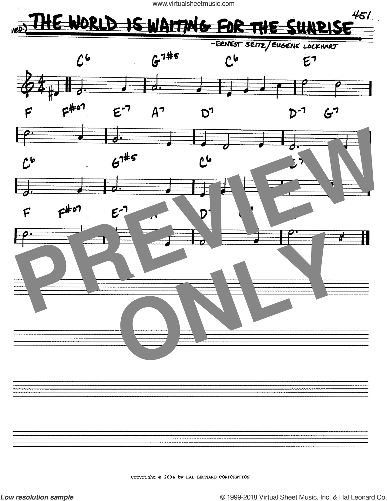 The World Is Waiting For The Sunrise sheet music for voice and other instruments (C) by Ernest Seitz and Eugene Lockhart. Score Image Preview.