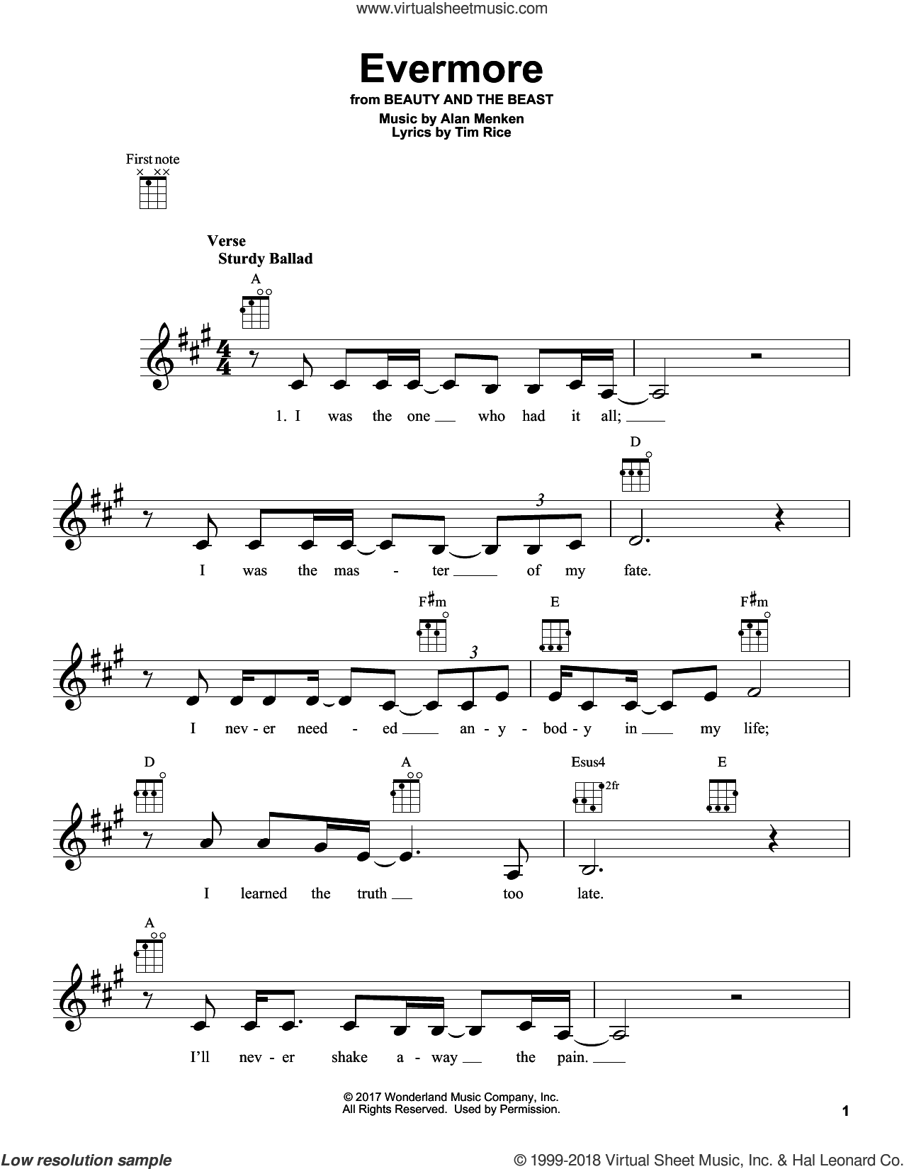 Evermore sheet music for ukulele by Josh Groban, Beauty and the Beast Cast, Howard Ashman, Alan Menken and Tim Rice, intermediate. Score Image Preview.