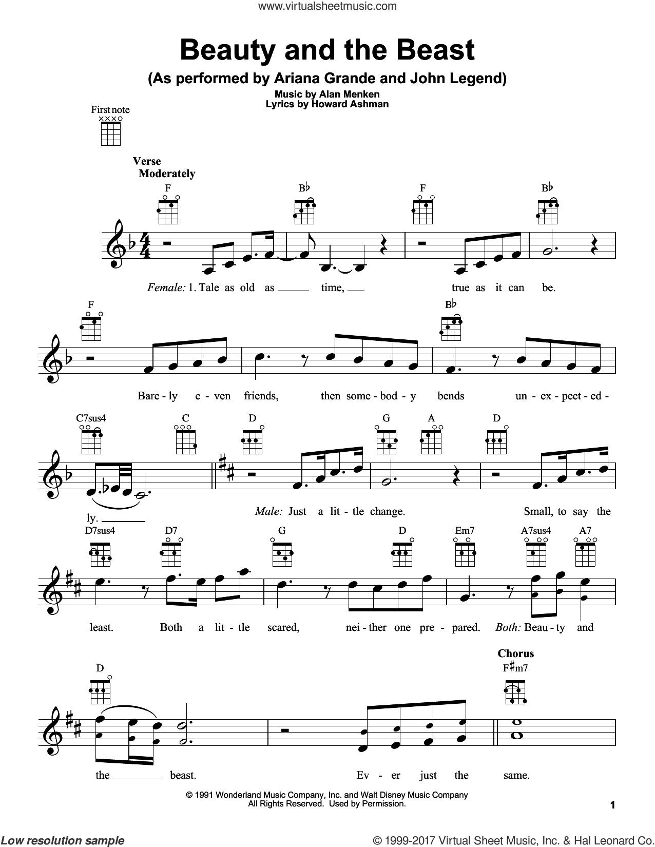Beauty And The Beast sheet music for ukulele by Ariana Grande & John Legend, Beauty and the Beast Cast, Tim Rice, Alan Menken and Howard Ashman, intermediate skill level