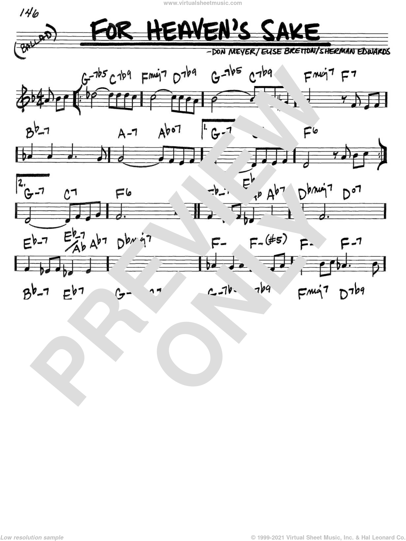 For Heaven's Sake sheet music for voice and other instruments (in C) by Bill Evans, Don Meyer, Elise Bretton and Sherman Edwards, intermediate skill level