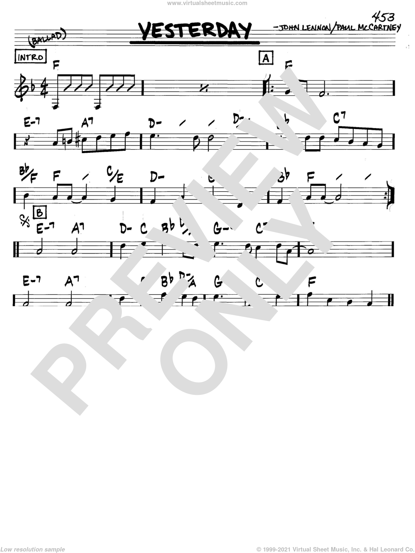 Yesterday sheet music for voice and other instruments (C) by The Beatles, John Lennon and Paul McCartney, intermediate voice. Score Image Preview.