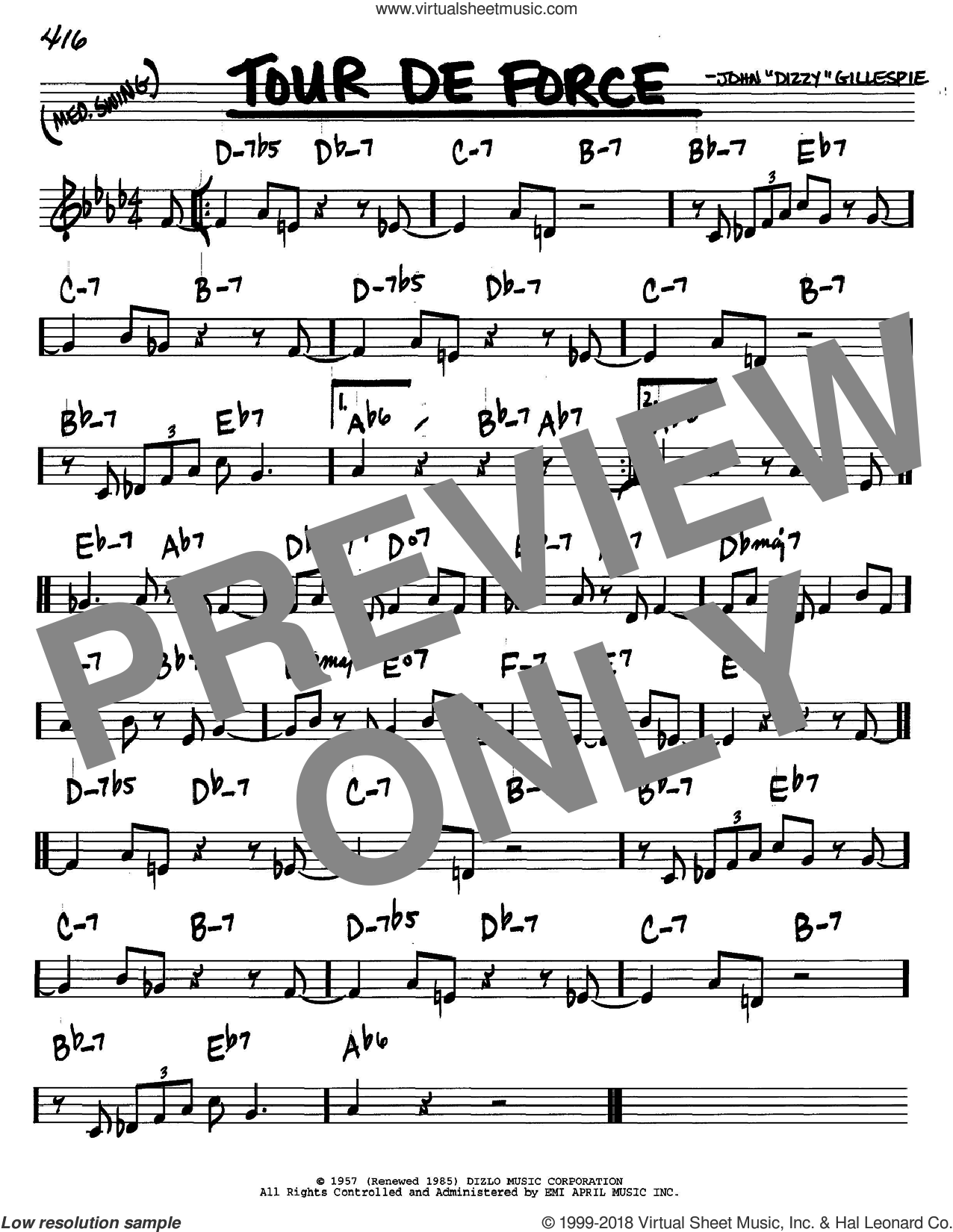 Tour De Force sheet music for voice and other instruments (C) by Dizzy Gillespie. Score Image Preview.