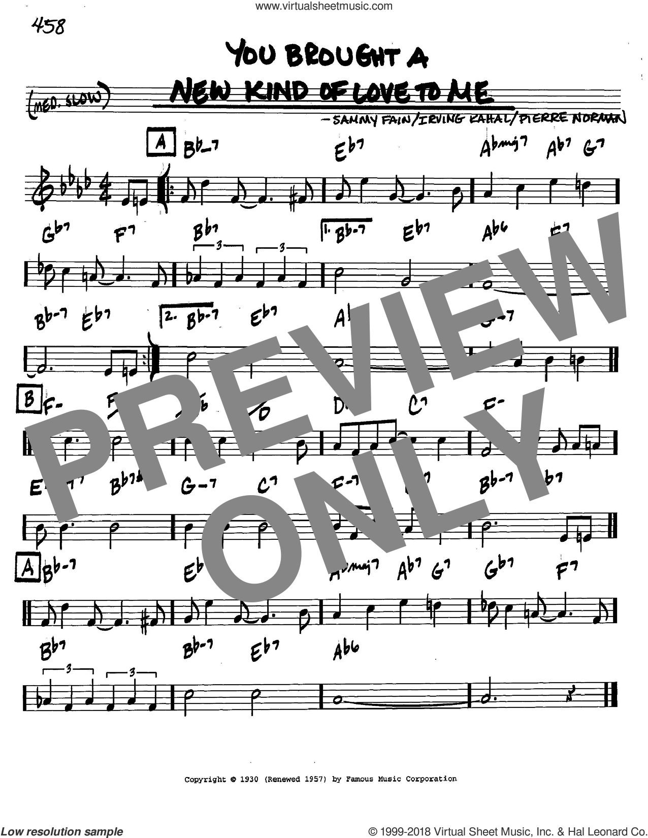 You Brought A New Kind Of Love To Me sheet music for voice and other instruments (in C) by Frank Sinatra, Irving Kahal, Pierre Norman and Sammy Fain, intermediate skill level