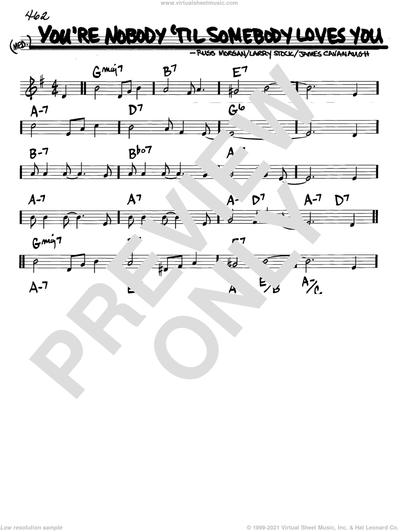You're Nobody 'Til Somebody Loves You sheet music for voice and other instruments (C) by Dean Martin, Frank Sinatra, James Cavanaugh, Larry Stock and Russ Morgan. Score Image Preview.