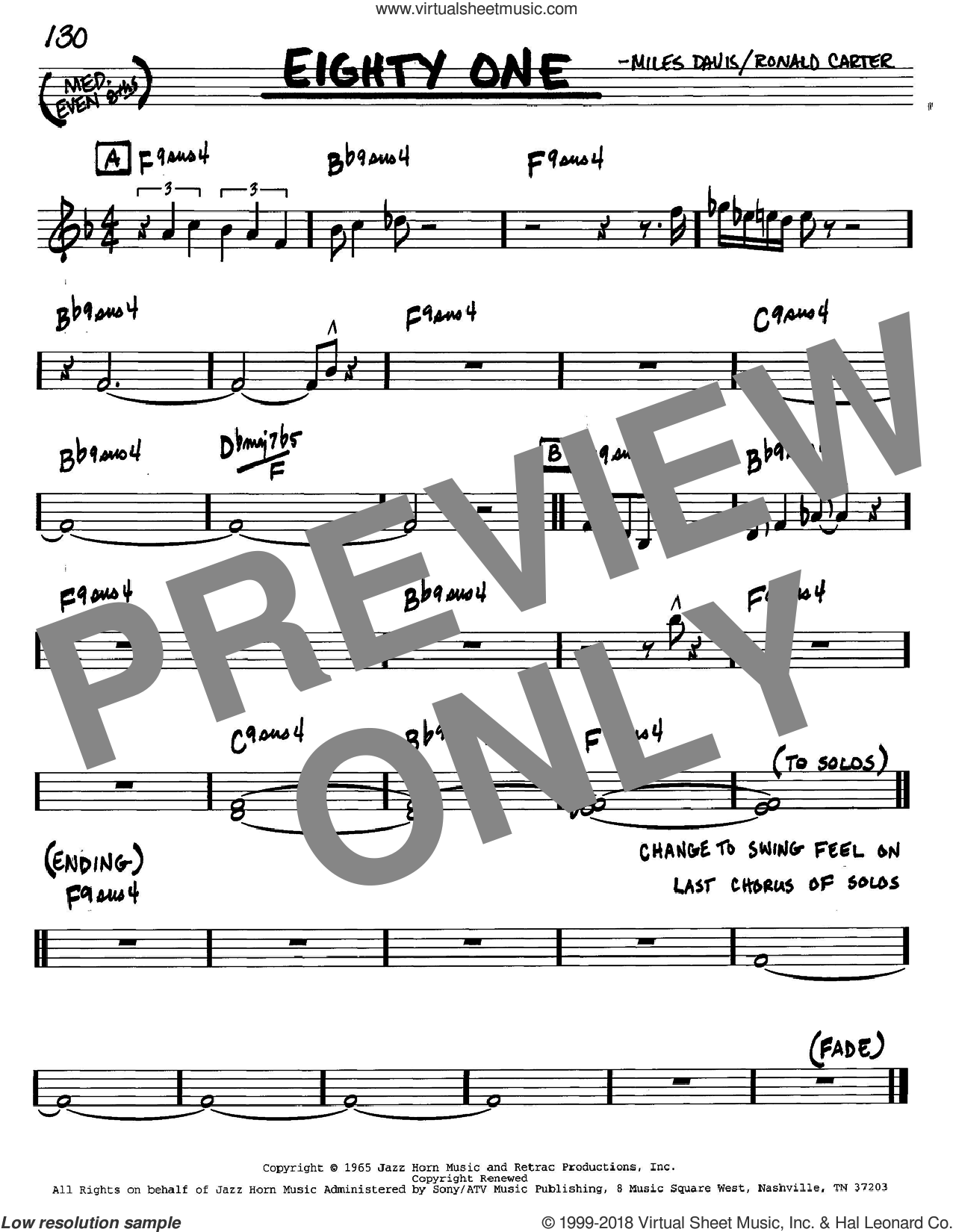 Eighty One sheet music for voice and other instruments (C) by Ronald Carter and Miles Davis. Score Image Preview.