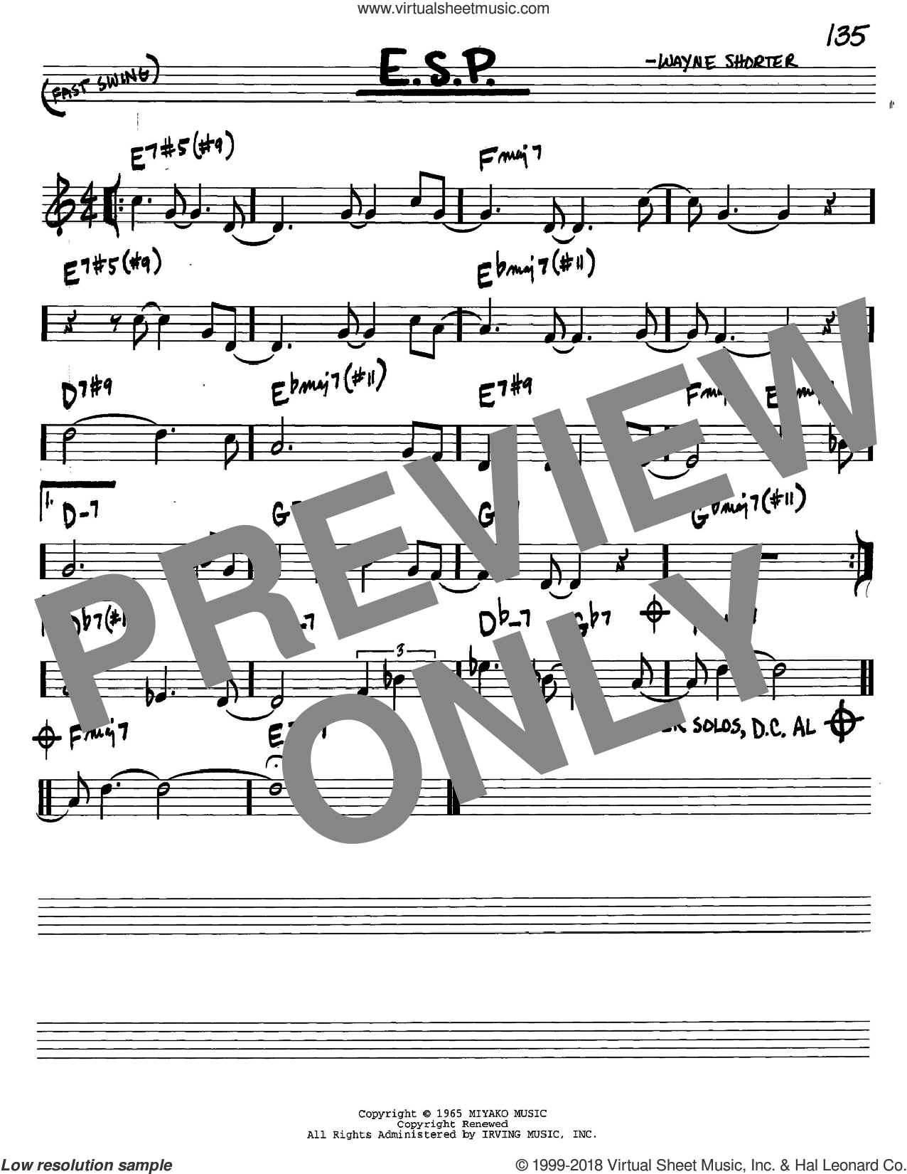 E.S.P. sheet music for voice and other instruments (C) by Wayne Shorter. Score Image Preview.