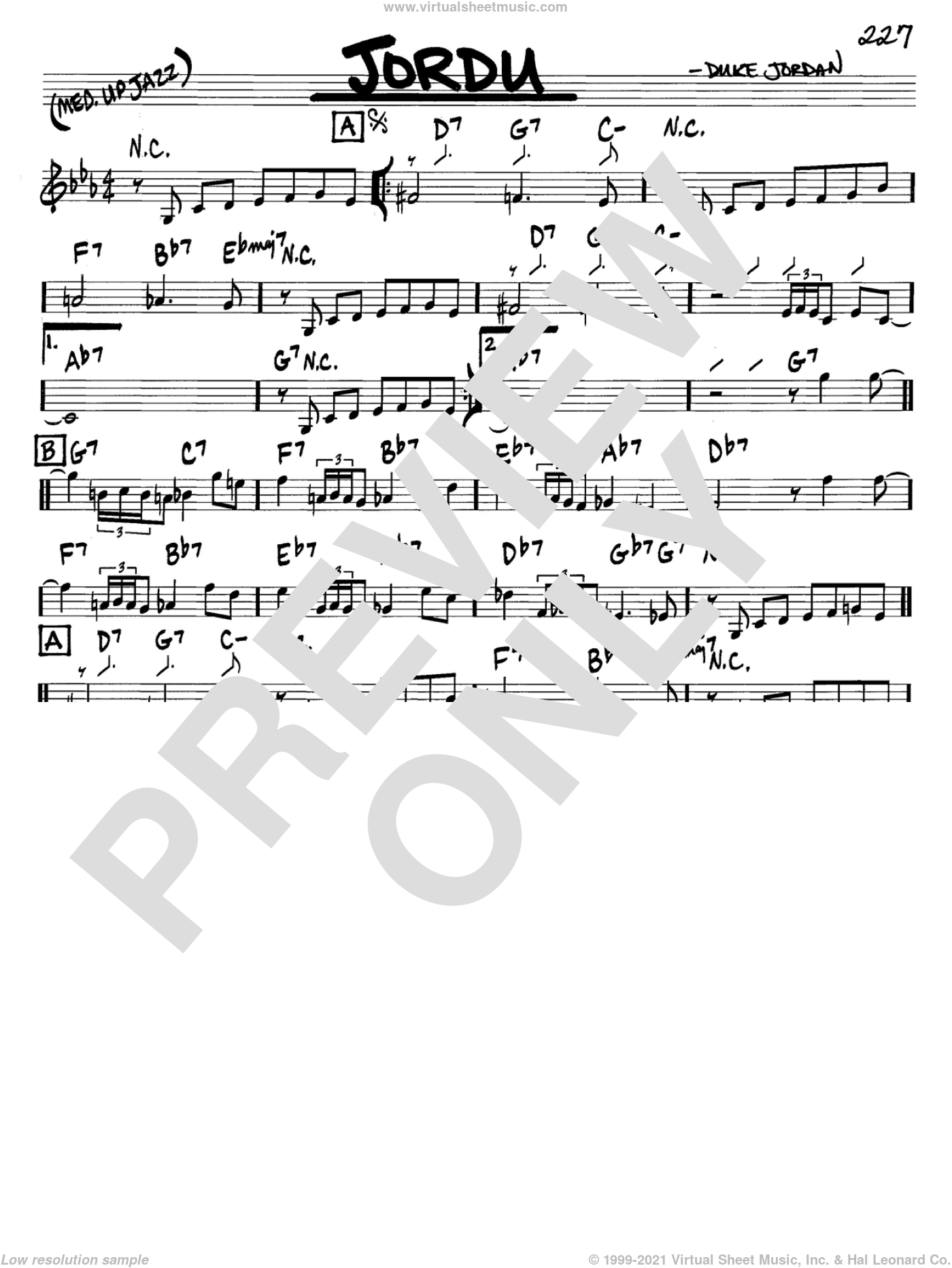 Jordu sheet music for voice and other instruments (C) by Duke Jordan