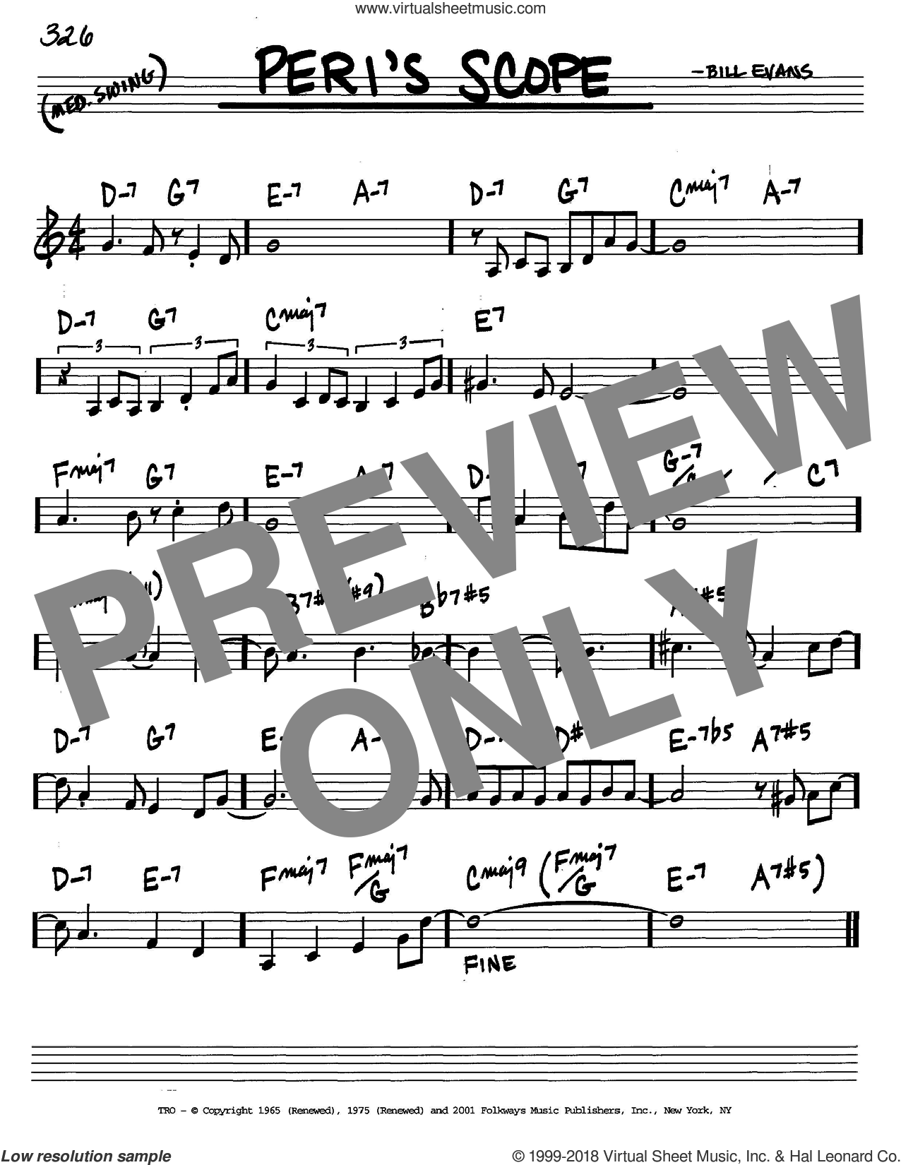 Peri's Scope sheet music for voice and other instruments (in C) by Bill Evans, intermediate skill level