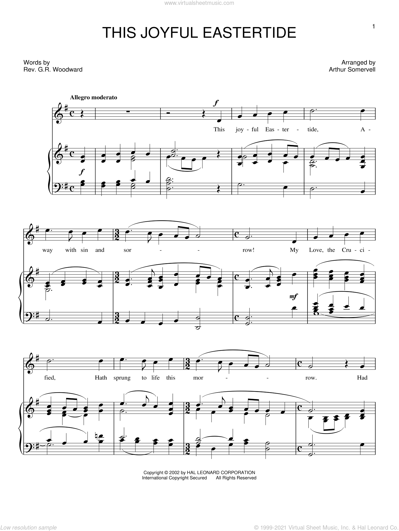 This Joyful Eastertide sheet music for voice, piano or guitar by George Woodward. Score Image Preview.