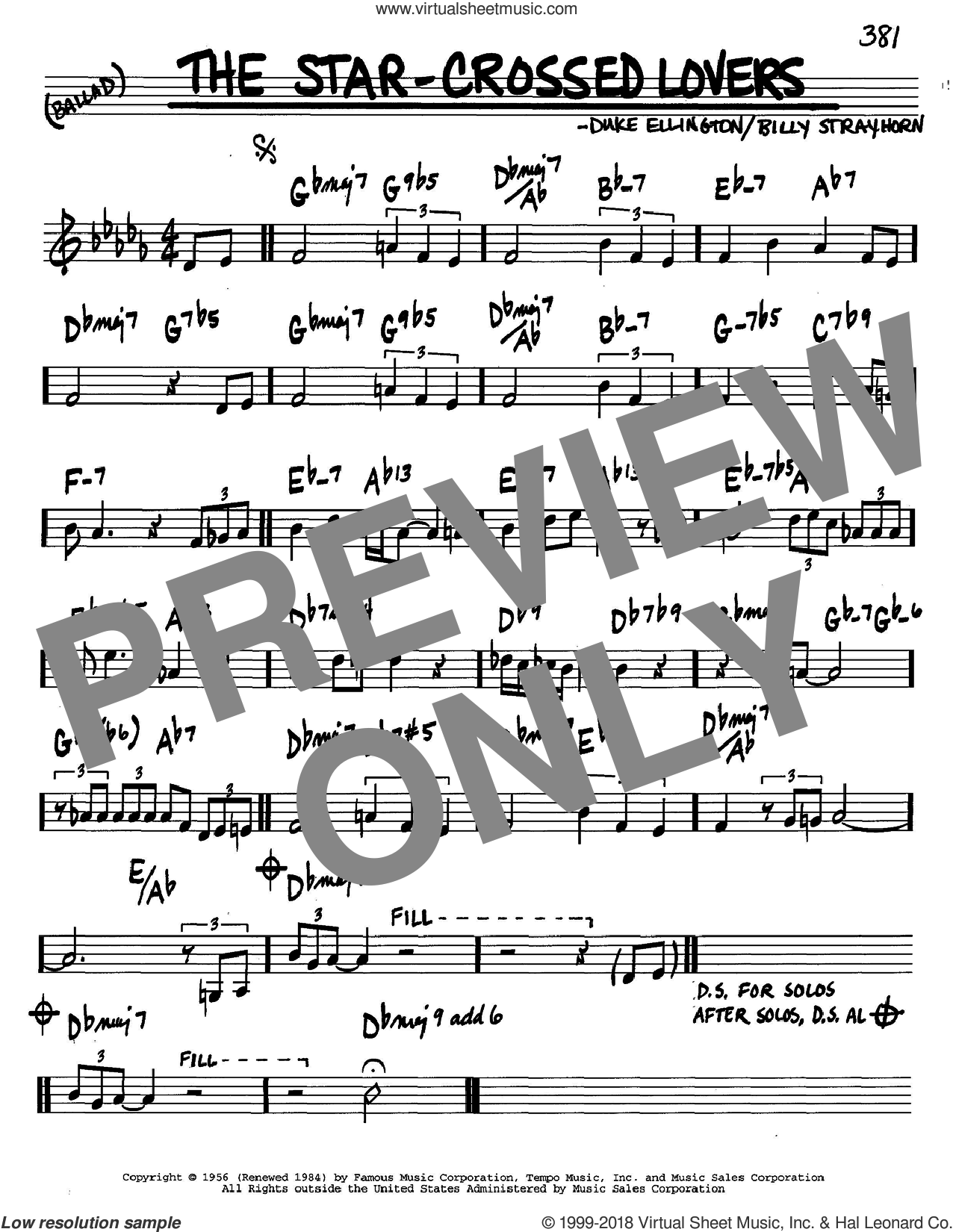 The Star-Crossed Lovers sheet music for voice and other instruments (C) by Duke Ellington and Billy Strayhorn. Score Image Preview.