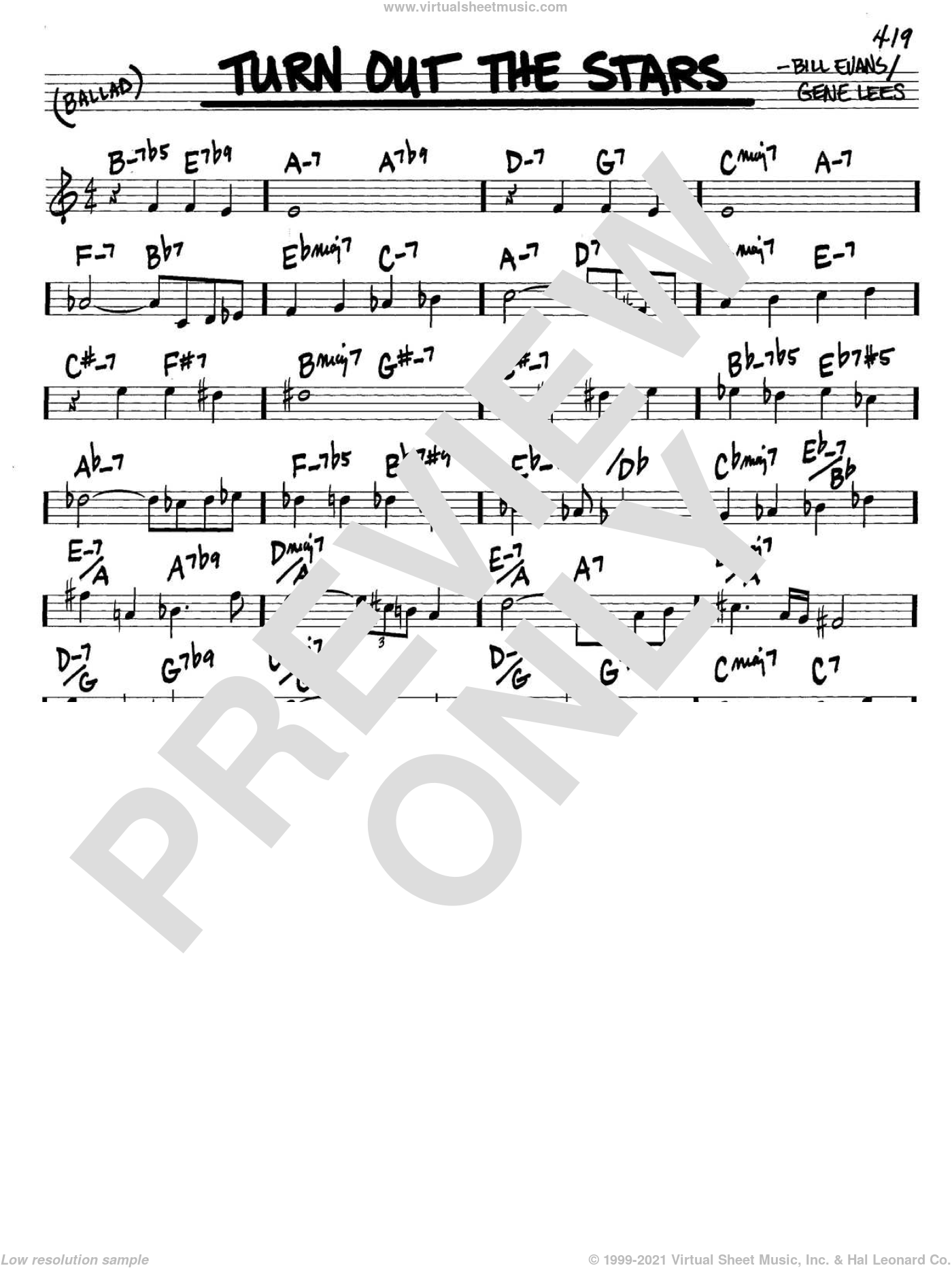 Turn Out The Stars sheet music for voice and other instruments (in C) by Bill Evans and Eugene John Lees, intermediate skill level