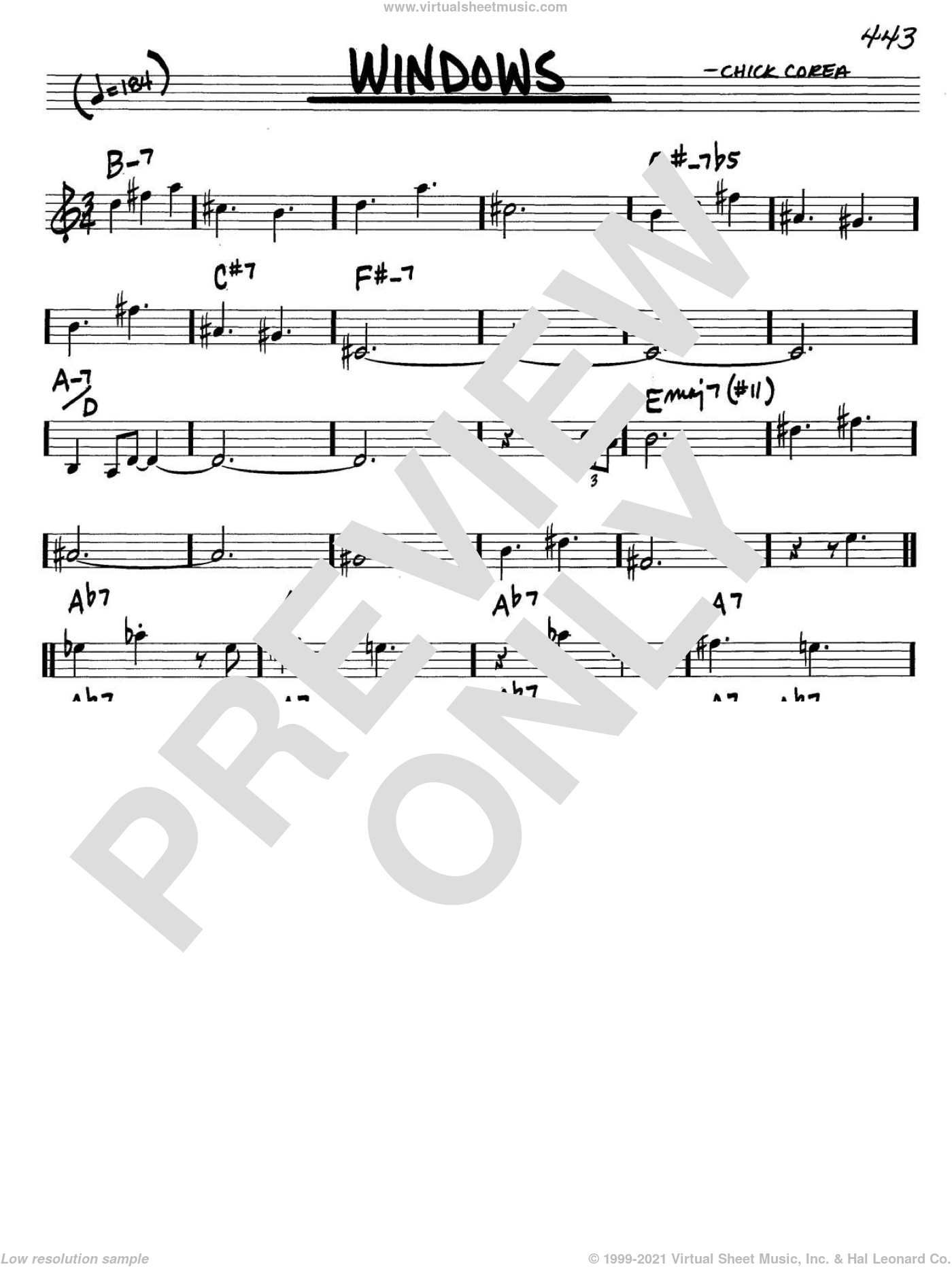 Windows sheet music for voice and other instruments (C) by Chick Corea. Score Image Preview.