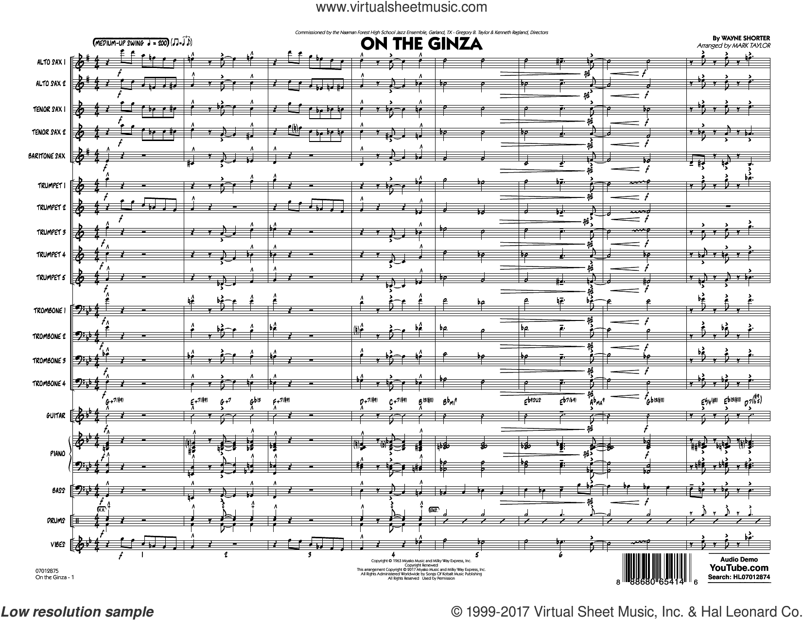 On The Ginza (COMPLETE) sheet music for jazz band by Mark Taylor and Wayne Shorter, intermediate. Score Image Preview.