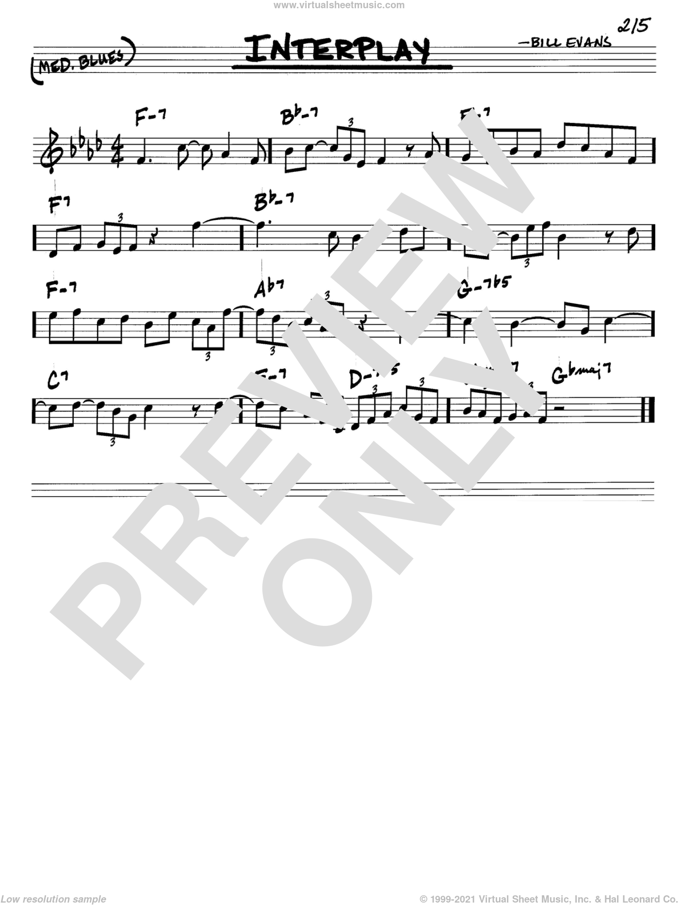 Interplay sheet music for voice and other instruments (in C) by Bill Evans, intermediate skill level